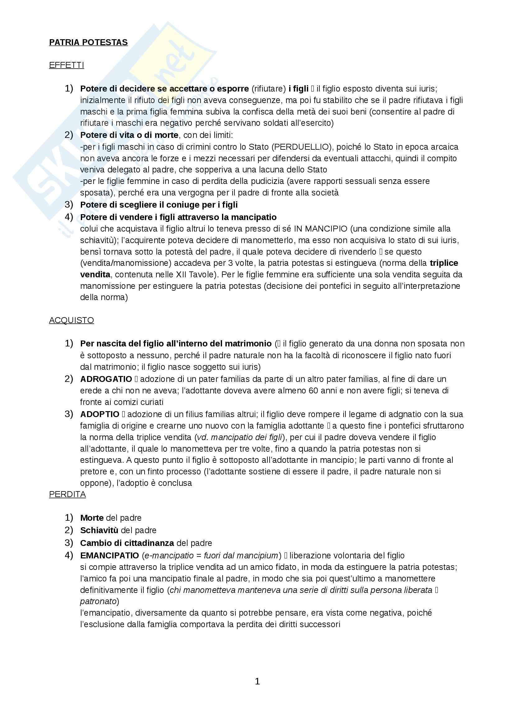 Istituzioni di diritto romano - patria potestas