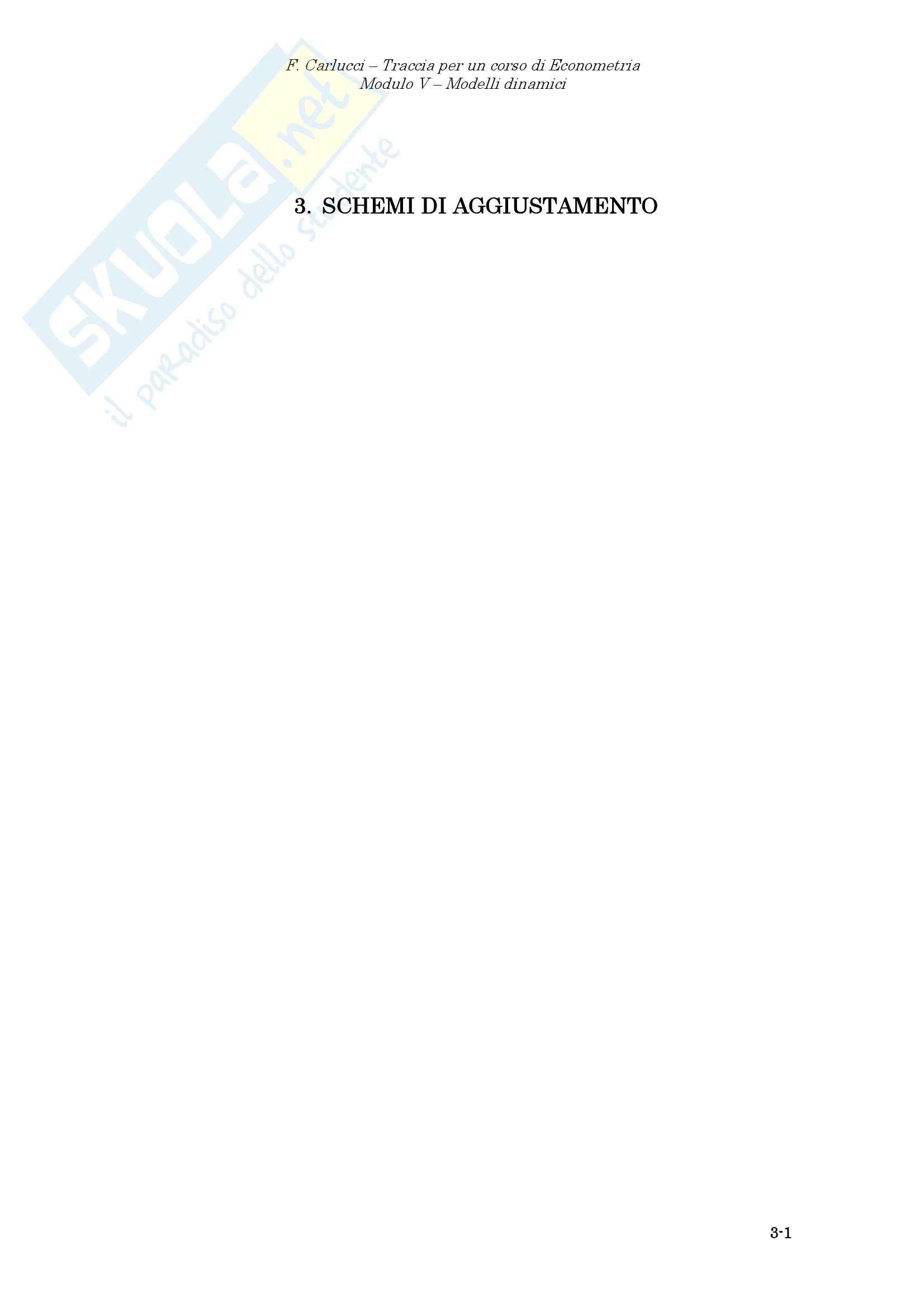 Econometria - gli schemi di aggiustamento