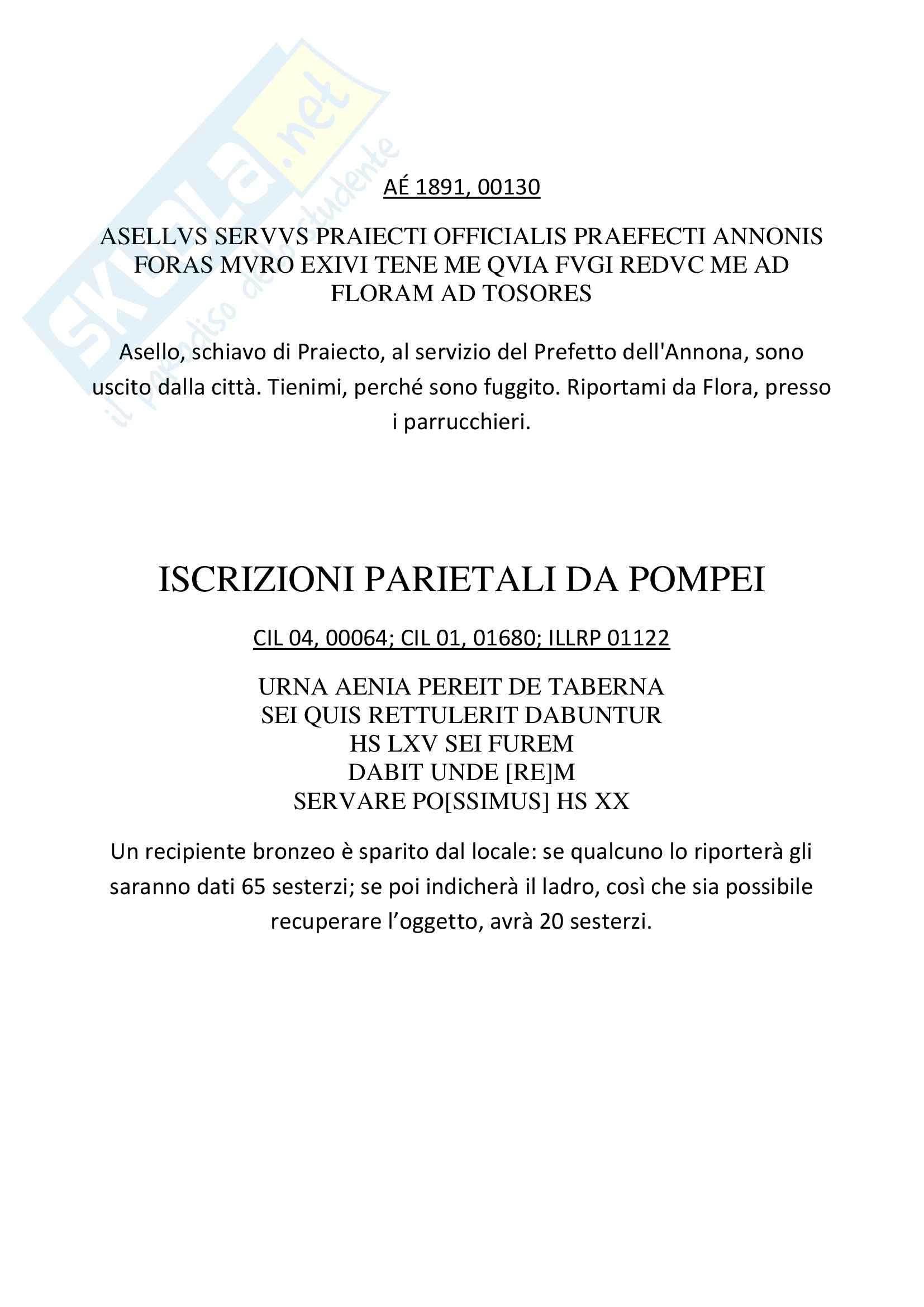 Storia romana - Epigrafi latine Pag. 16