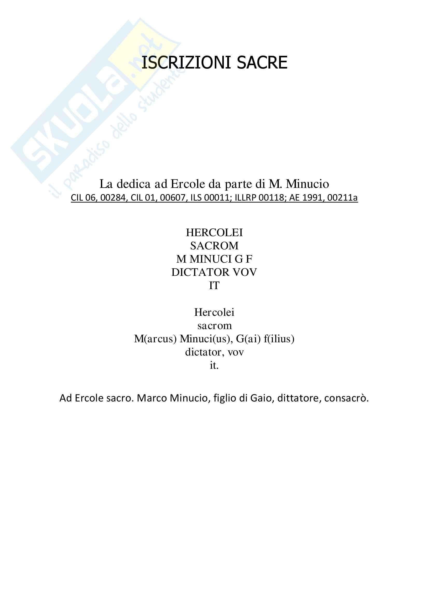 Storia romana - Epigrafi latine Pag. 2