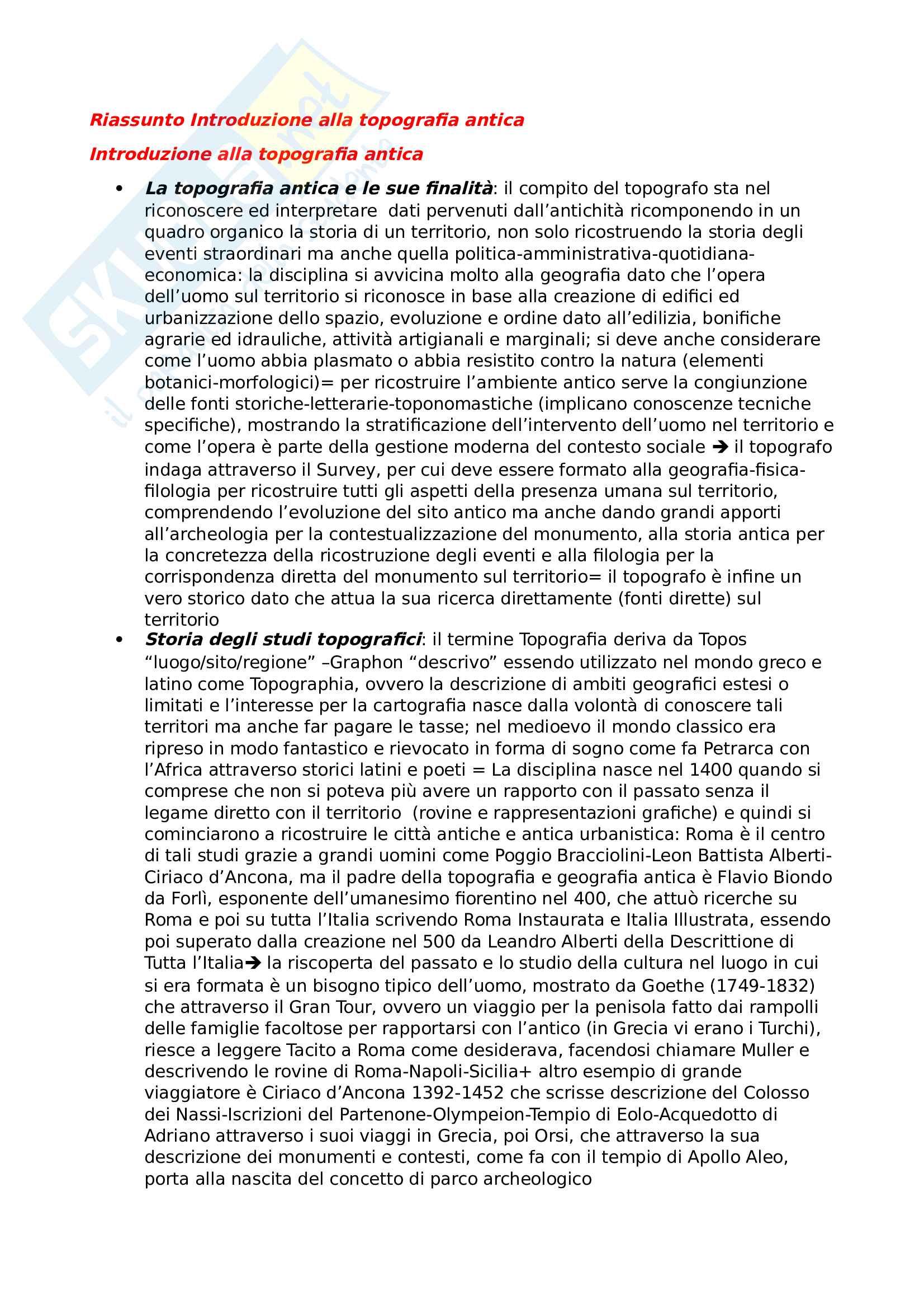 Riassunto esame Topografia antica, Prof. Castoldi, libro consigliato Introduzione alla Topografia antica