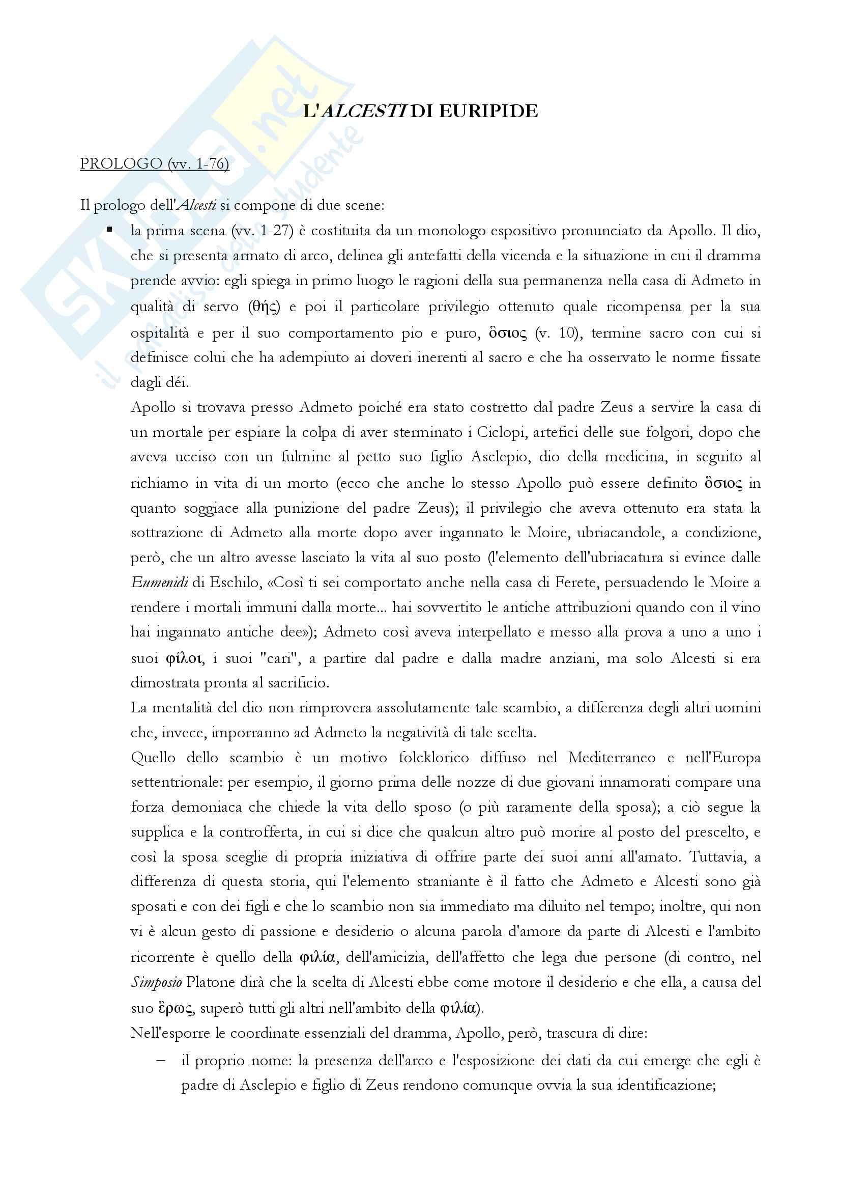 Alcesti, Euripide Pag. 1