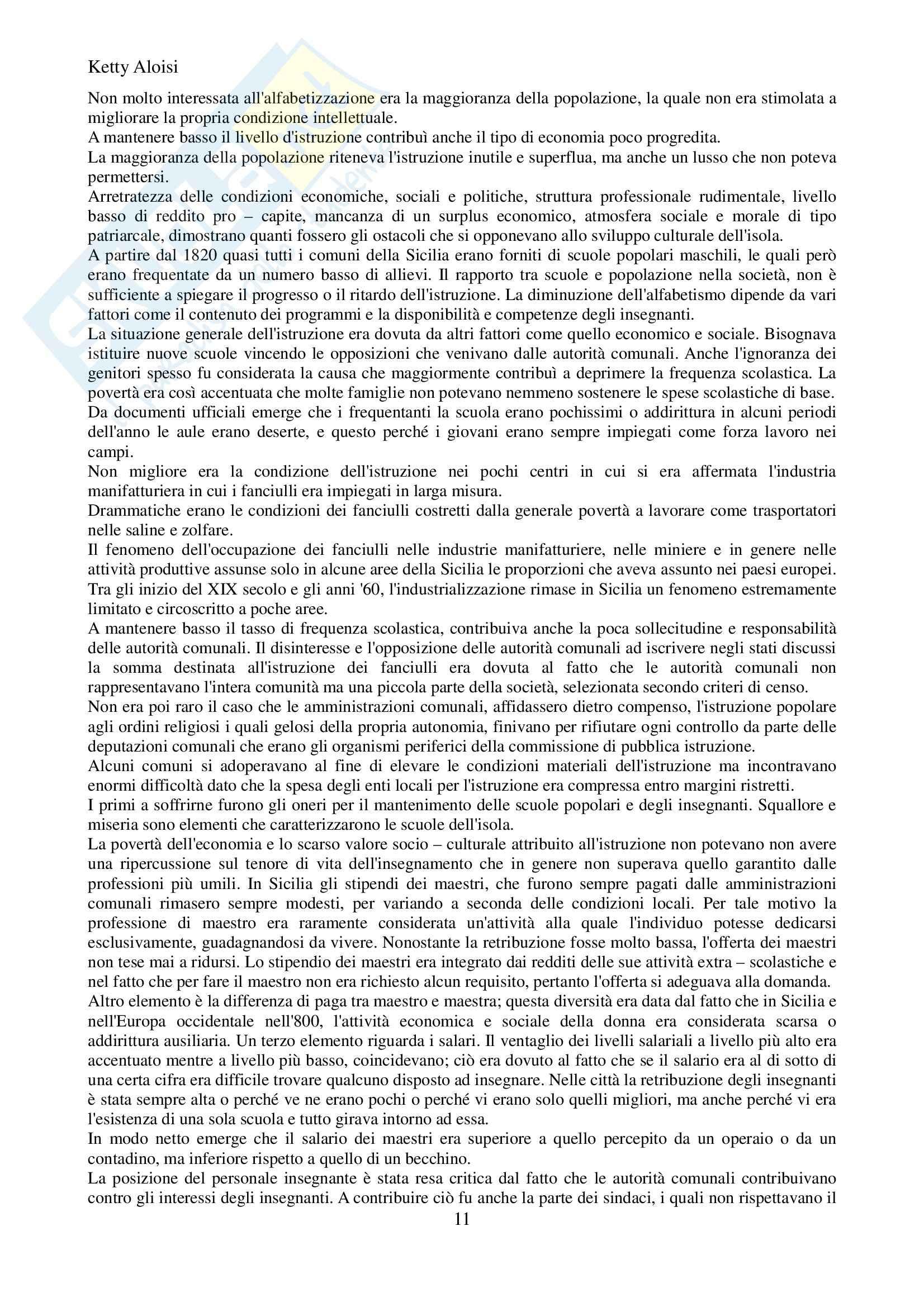 Riassunto esame Scuola istituzioni, prof. Sindoni, libro consigliato L'istruzione in Sicilia, Agresta Pag. 11
