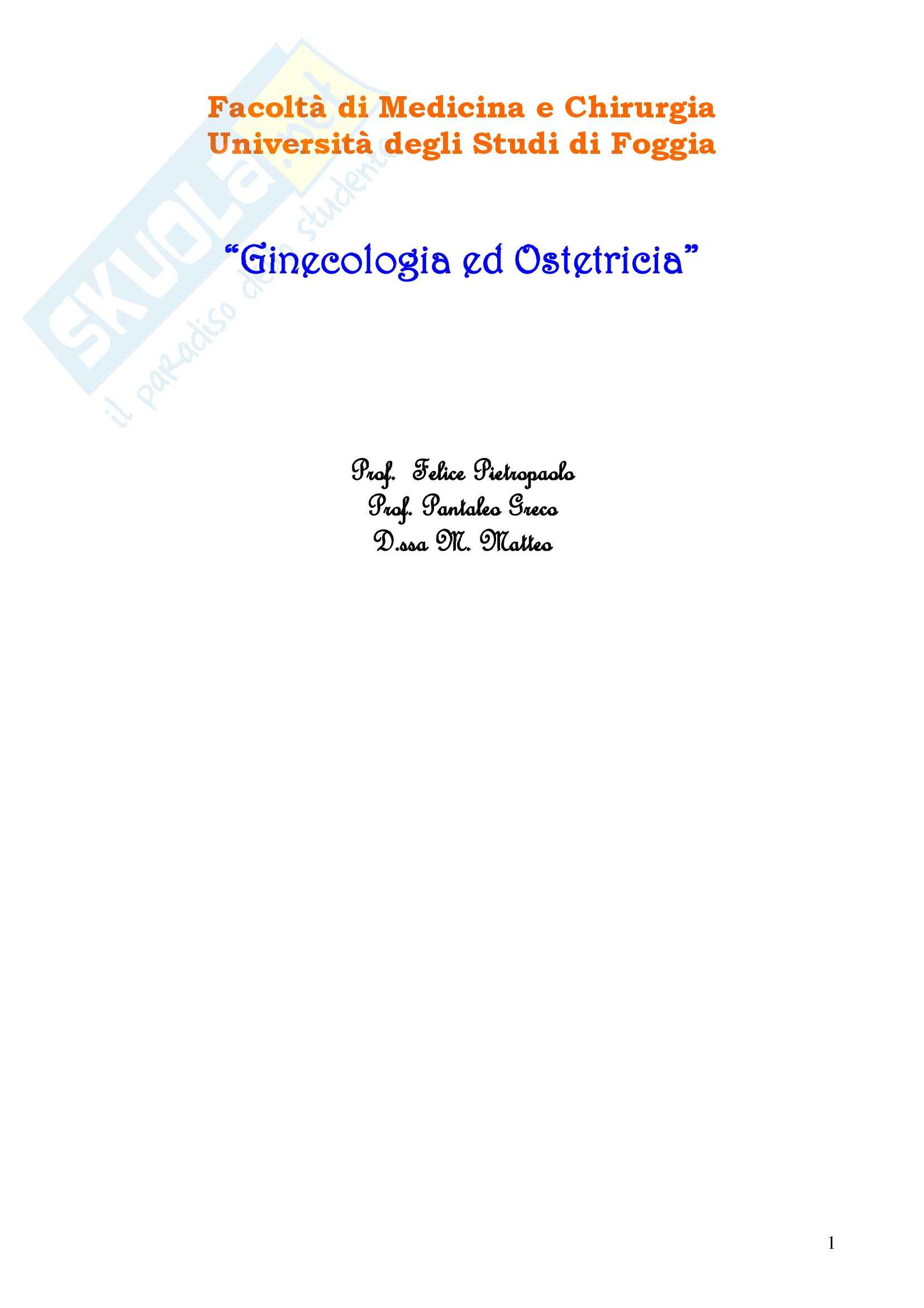 Ginecologia e Ostetricia - Appunti