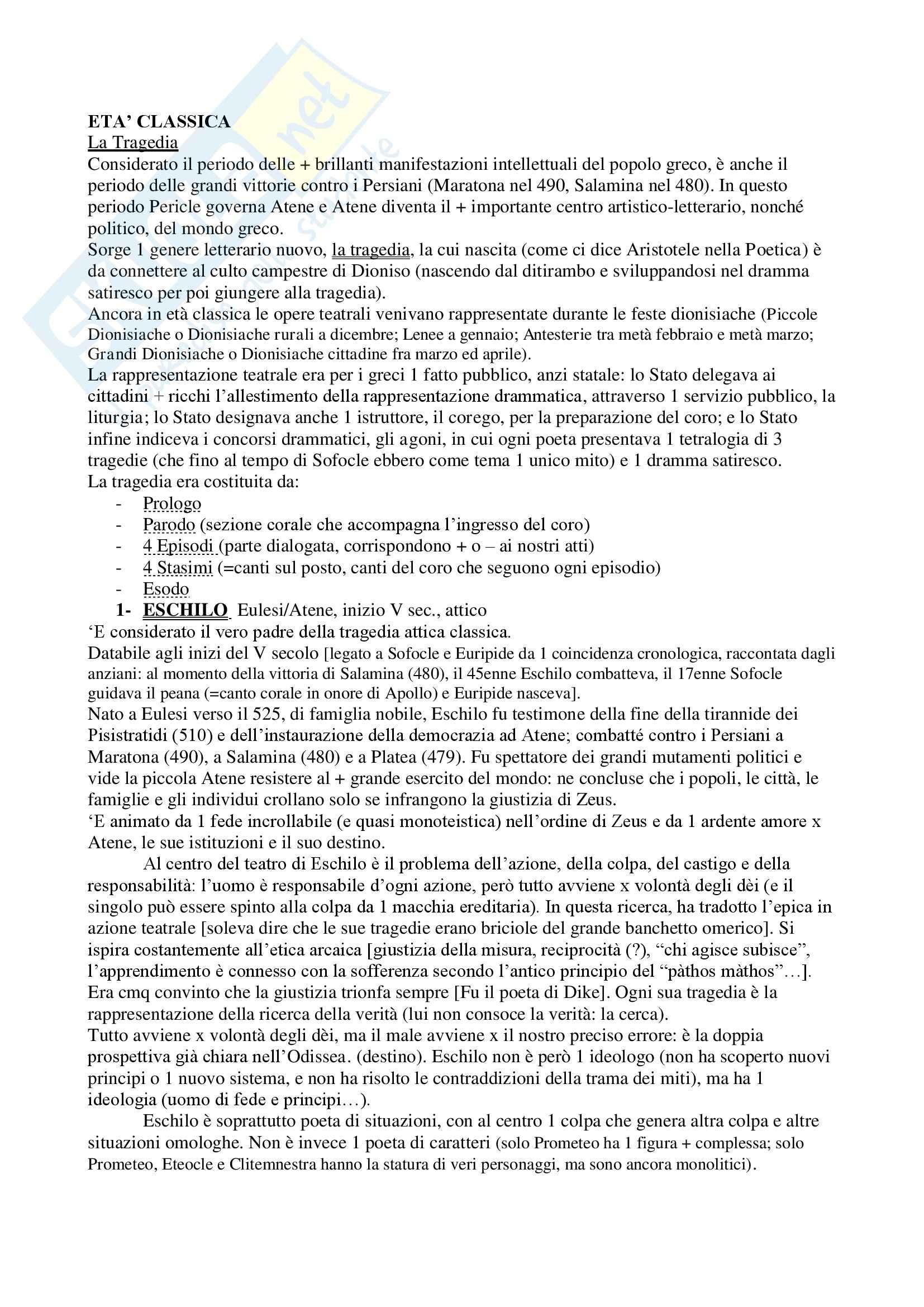 Età classica - Riassunto esame, prof. Cirio
