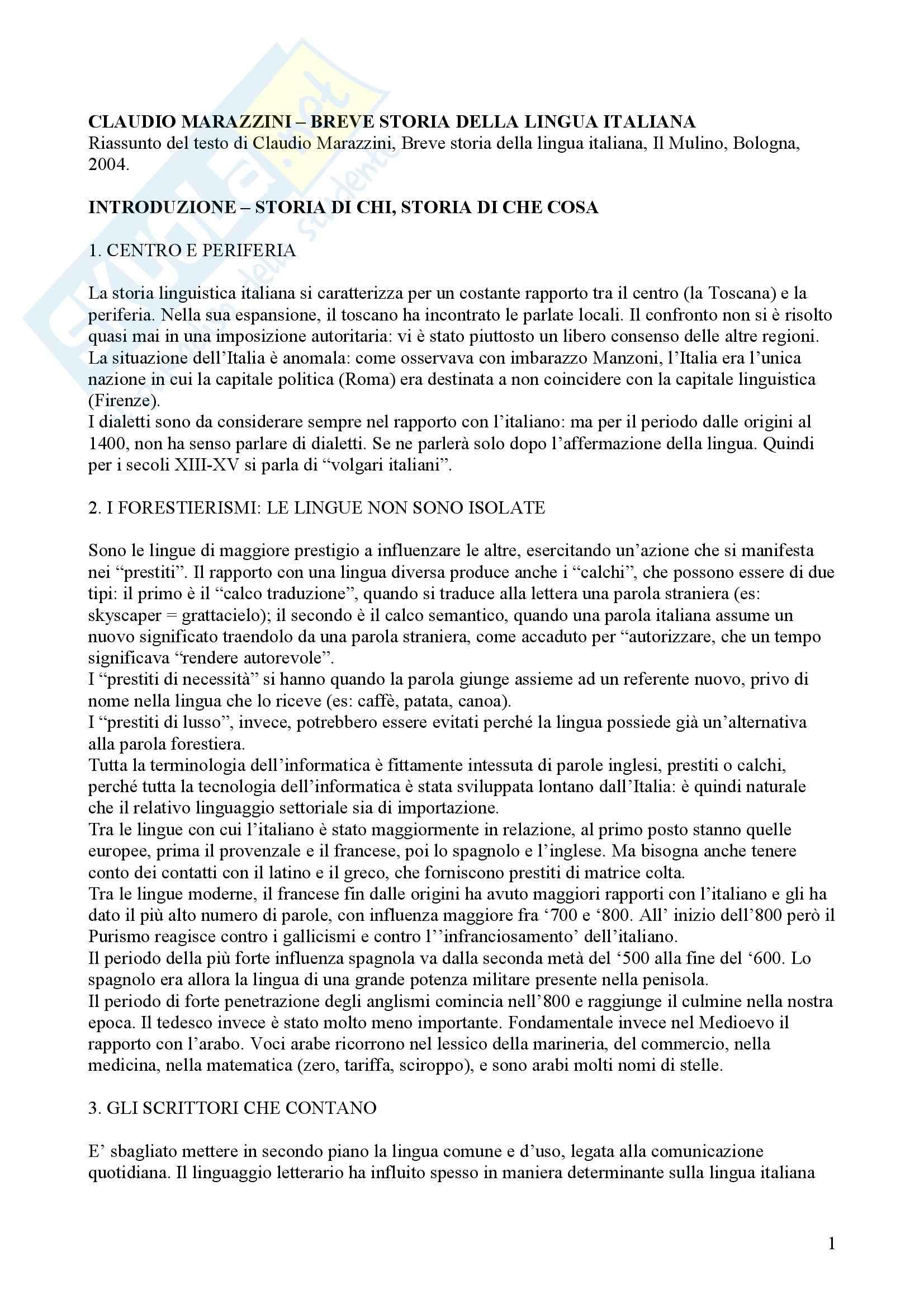 Tecniche espressive e composizione testi in italiano - Claudio Marazzini - breve storia della lingua italiana