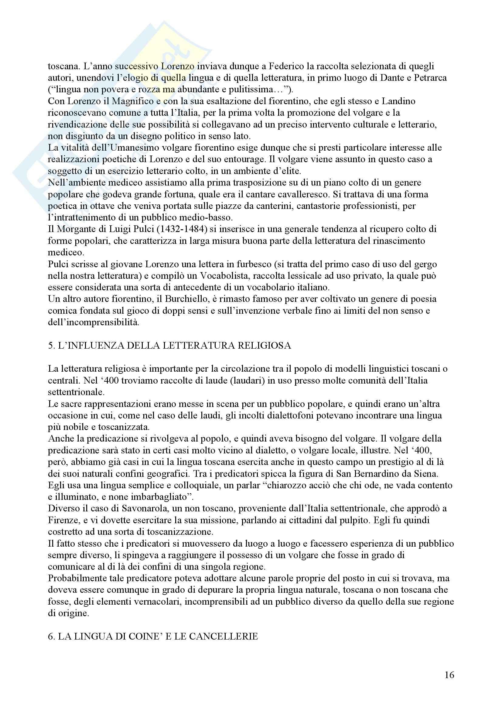 Tecniche espressive e composizione testi in italiano - Claudio Marazzini - breve storia della lingua italiana Pag. 16
