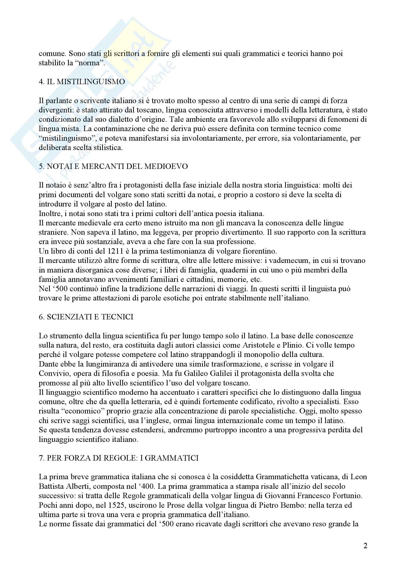 Tecniche espressive e composizione testi in italiano - Claudio Marazzini - breve storia della lingua italiana Pag. 2