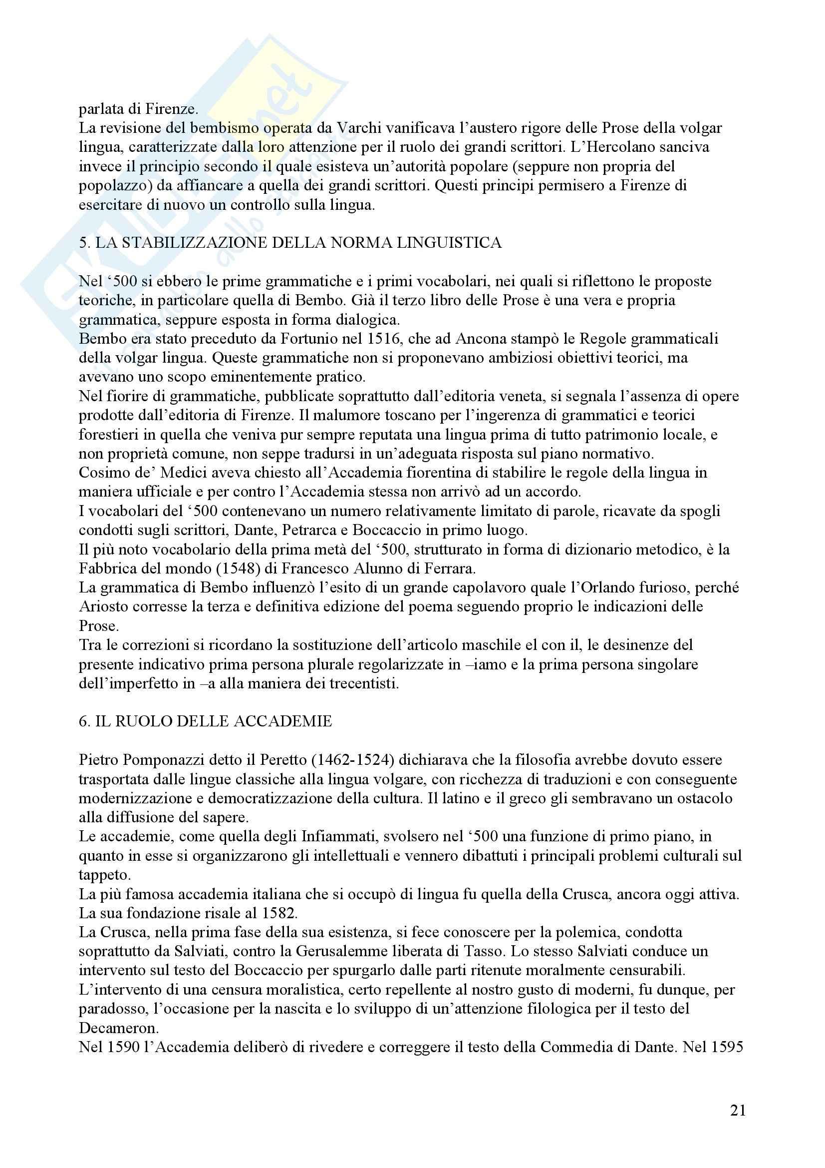 Tecniche espressive e composizione testi in italiano - Claudio Marazzini - breve storia della lingua italiana Pag. 21