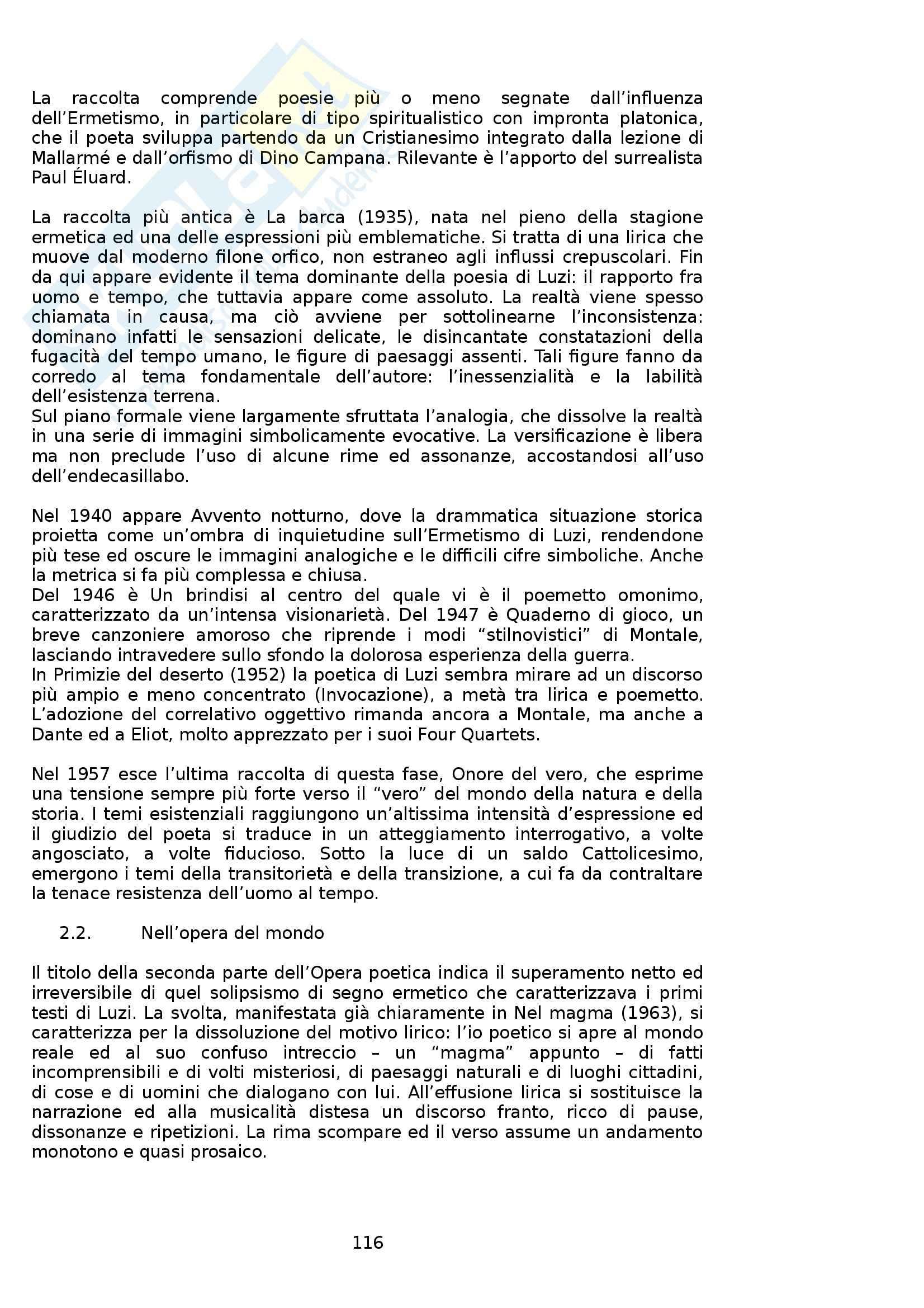 Riassunto esame Letteratura Italiana, prof. Boggione, libro consigliato Storia ed Antologia della Letteratura, Barberi Squarotti Pag. 116