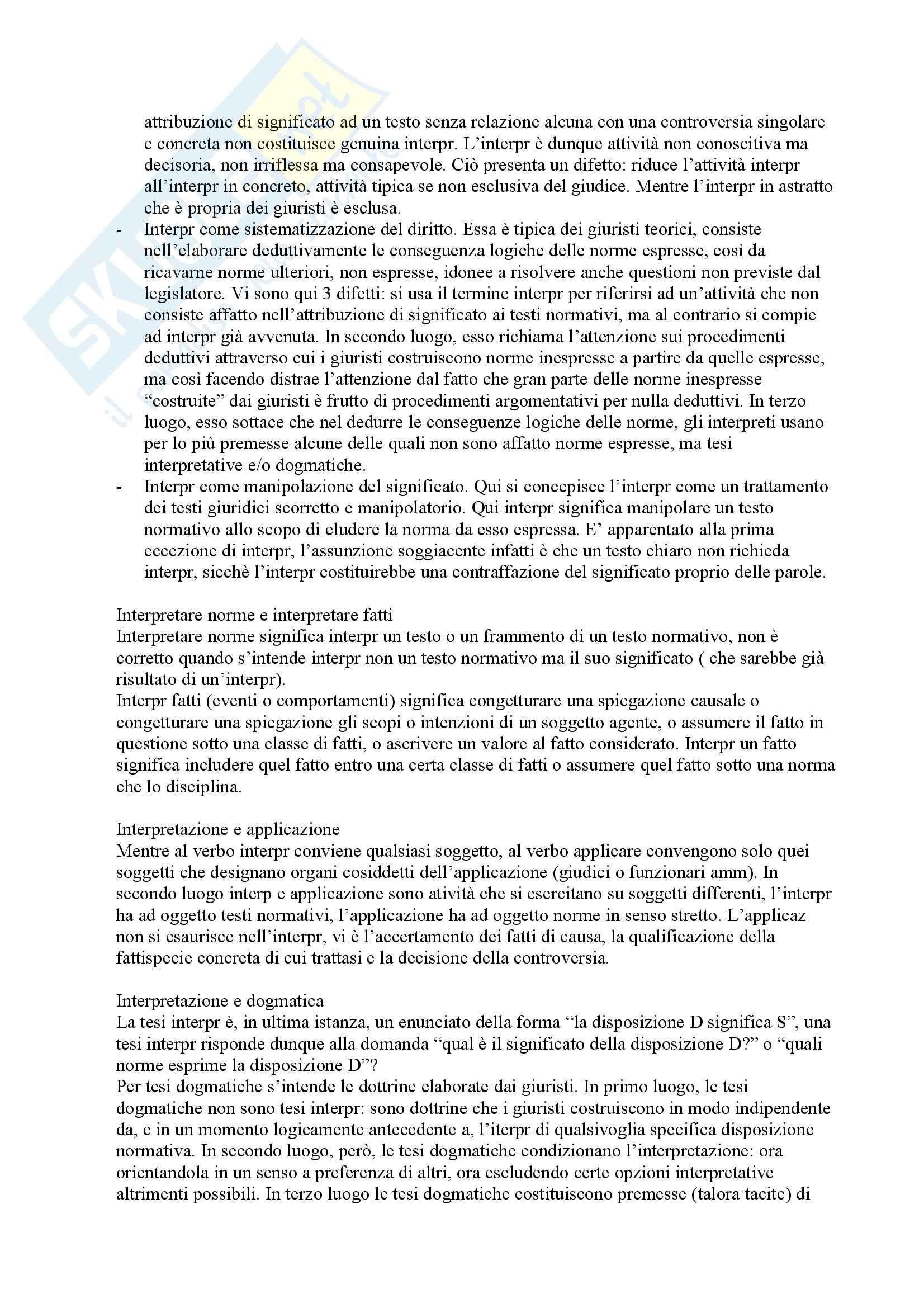 Riassunto esame Tecniche dell'interpretazione, prof. Guastini, libro consigliato Interpretazione dei documenti normativi Pag. 2