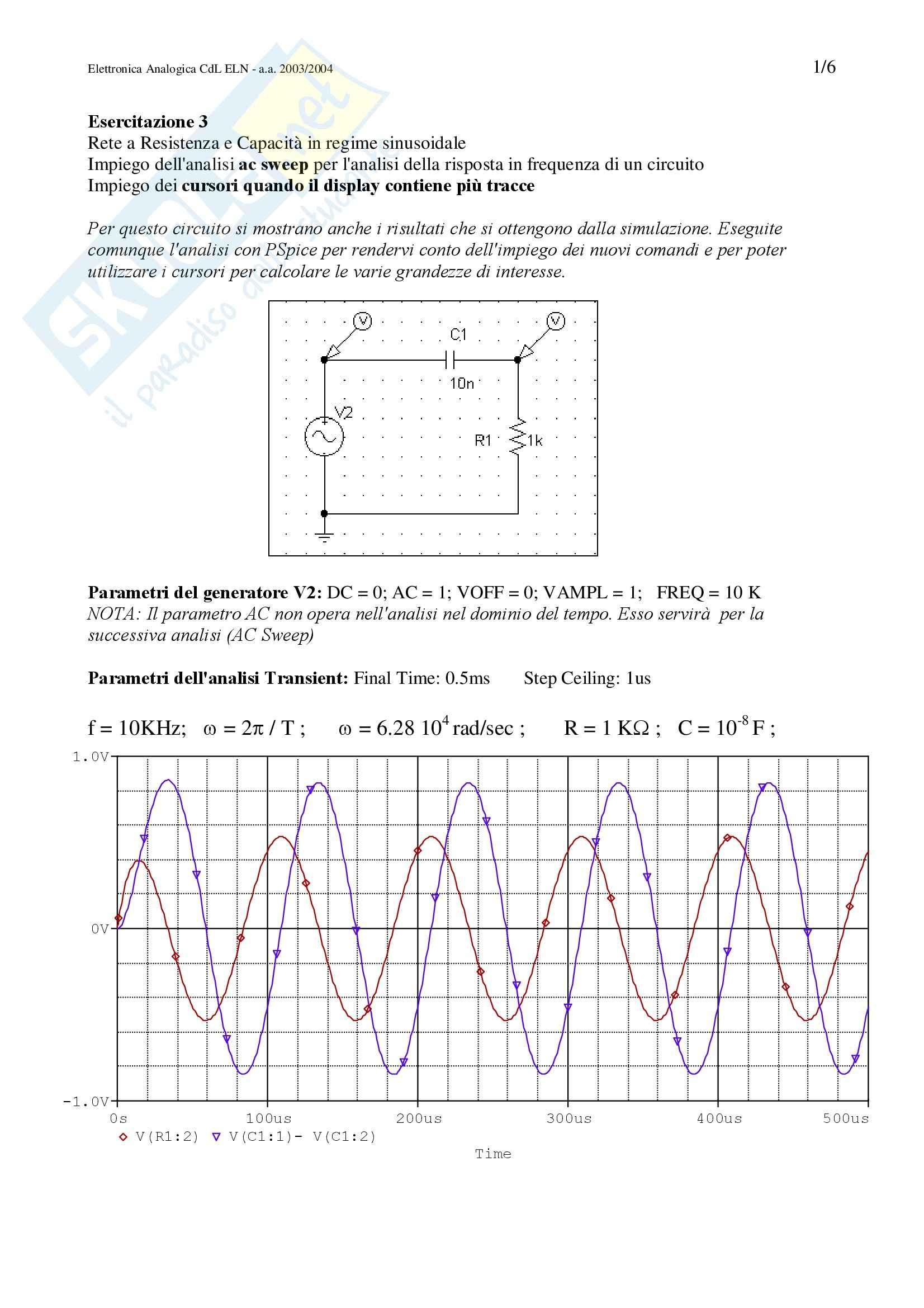 esercitazione V. D'Alessandro Elettronica analogica