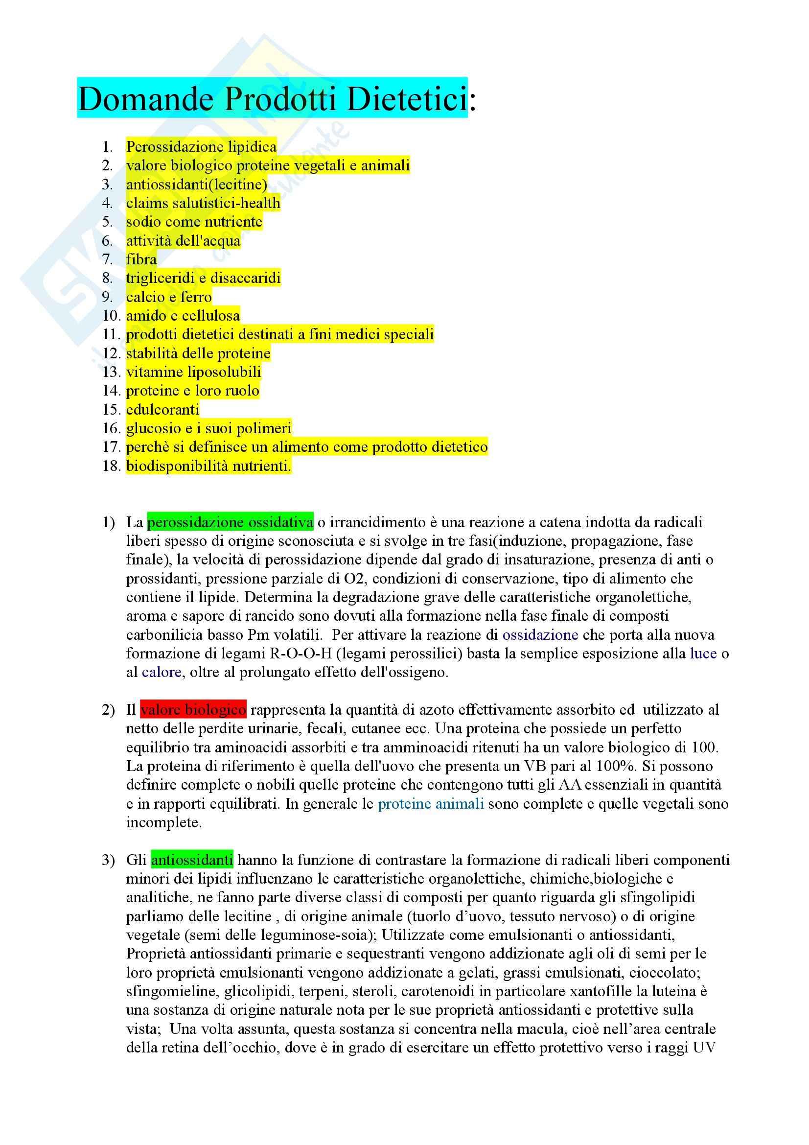 appunto G. Gazzani Prodotti dietetici