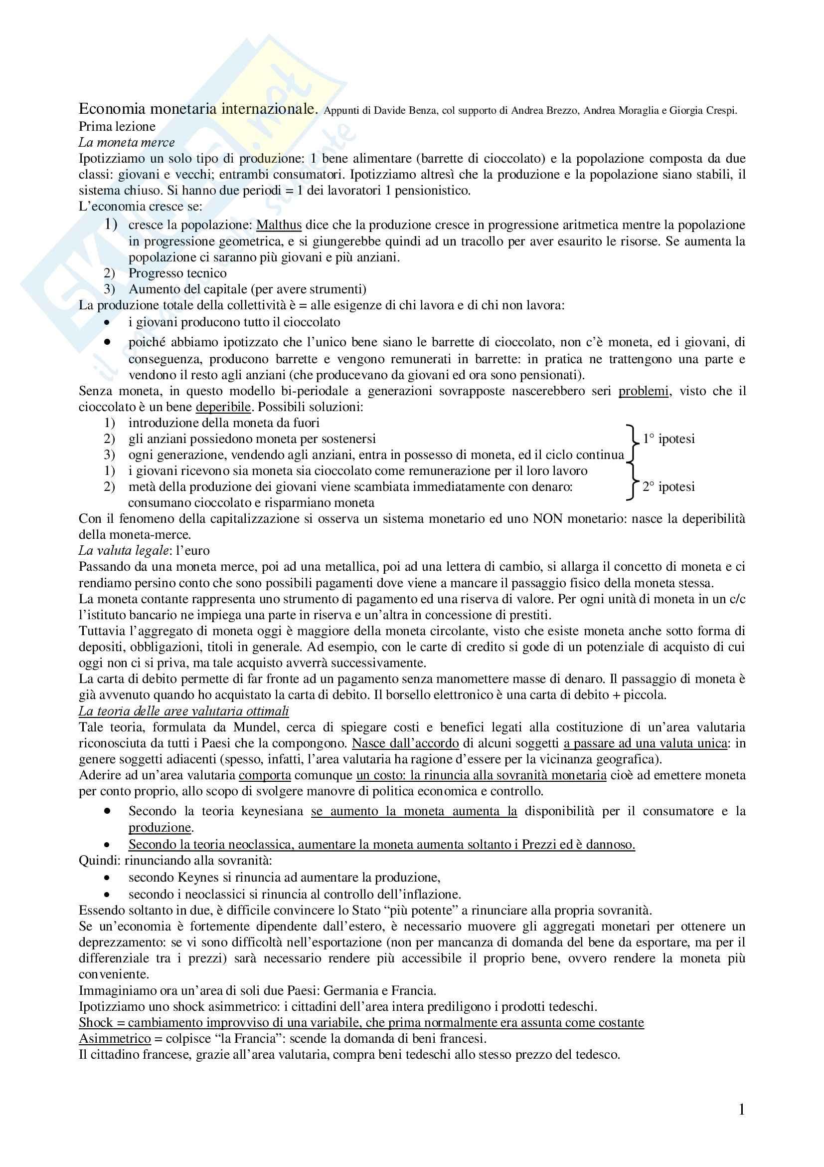 Economia monetaria internazionale - Appunti
