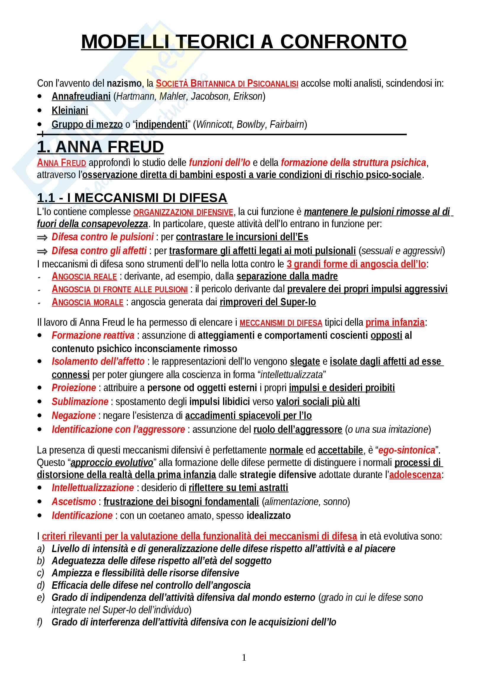 """Riassunto esame Psicologia Dinamica, prof. Gazzillo, libro consigliato """"Psicologia dinamica: Modelli teorici a confronto"""", De Coro, Ortu"""