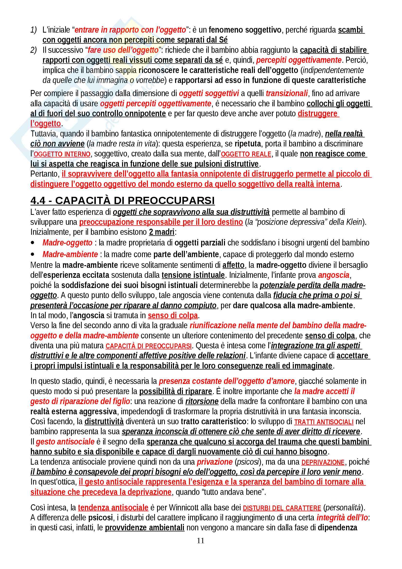 """Riassunto esame Psicologia Dinamica, prof. Gazzillo, libro consigliato """"Psicologia dinamica: Modelli teorici a confronto"""", De Coro, Ortu Pag. 11"""