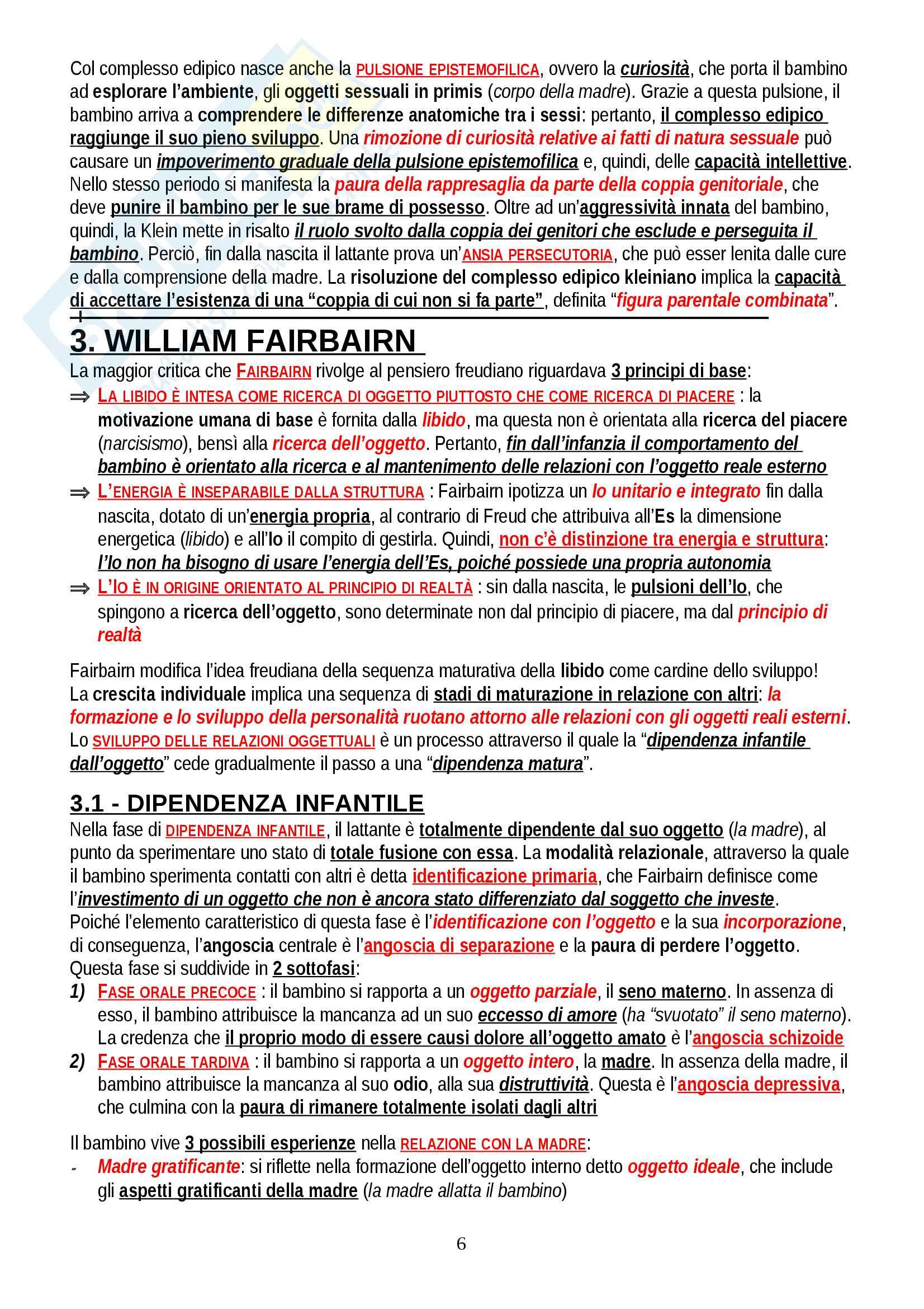 """Riassunto esame Psicologia Dinamica, prof. Gazzillo, libro consigliato """"Psicologia dinamica: Modelli teorici a confronto"""", De Coro, Ortu Pag. 6"""
