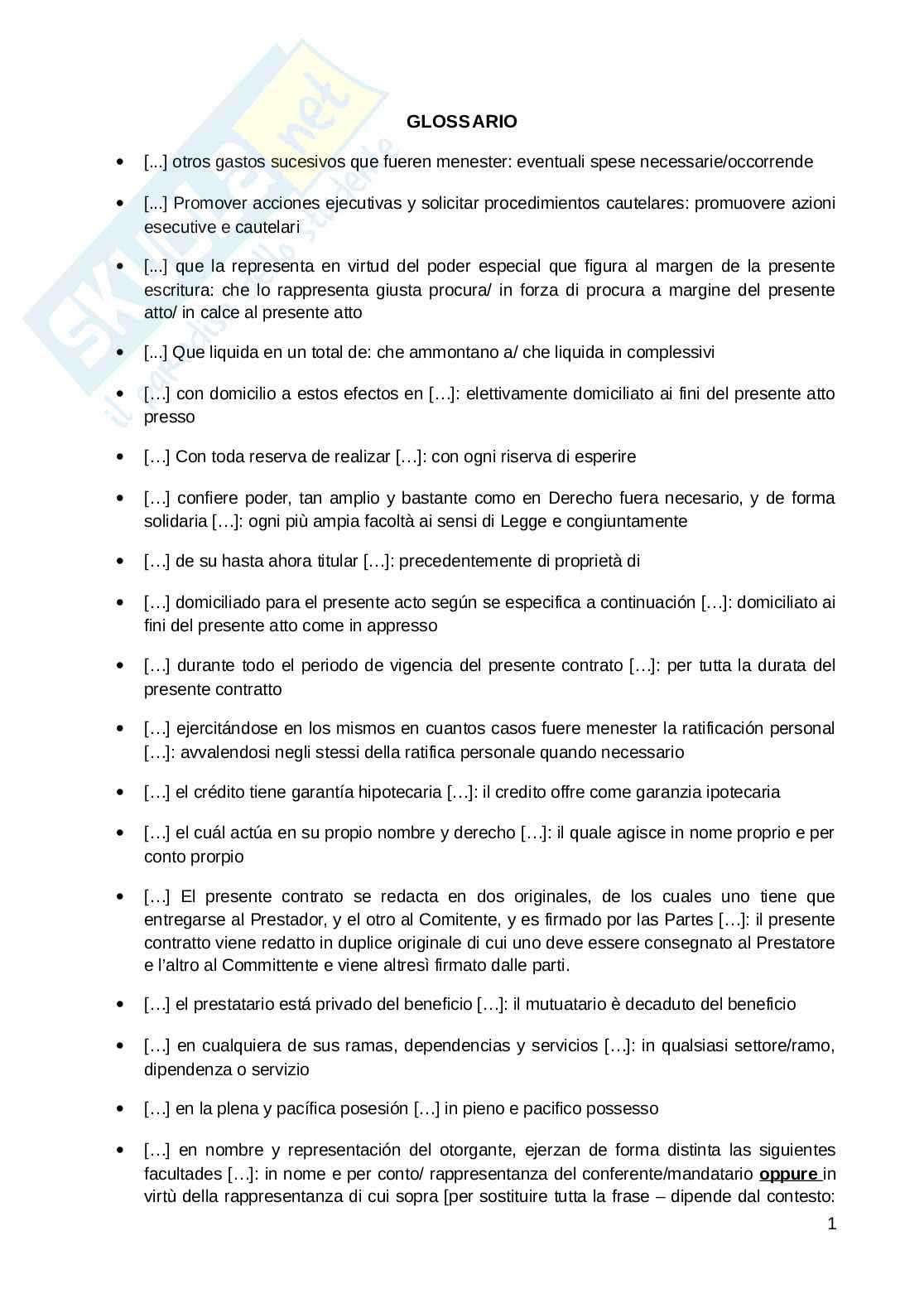Glossario giuridico spagnolo