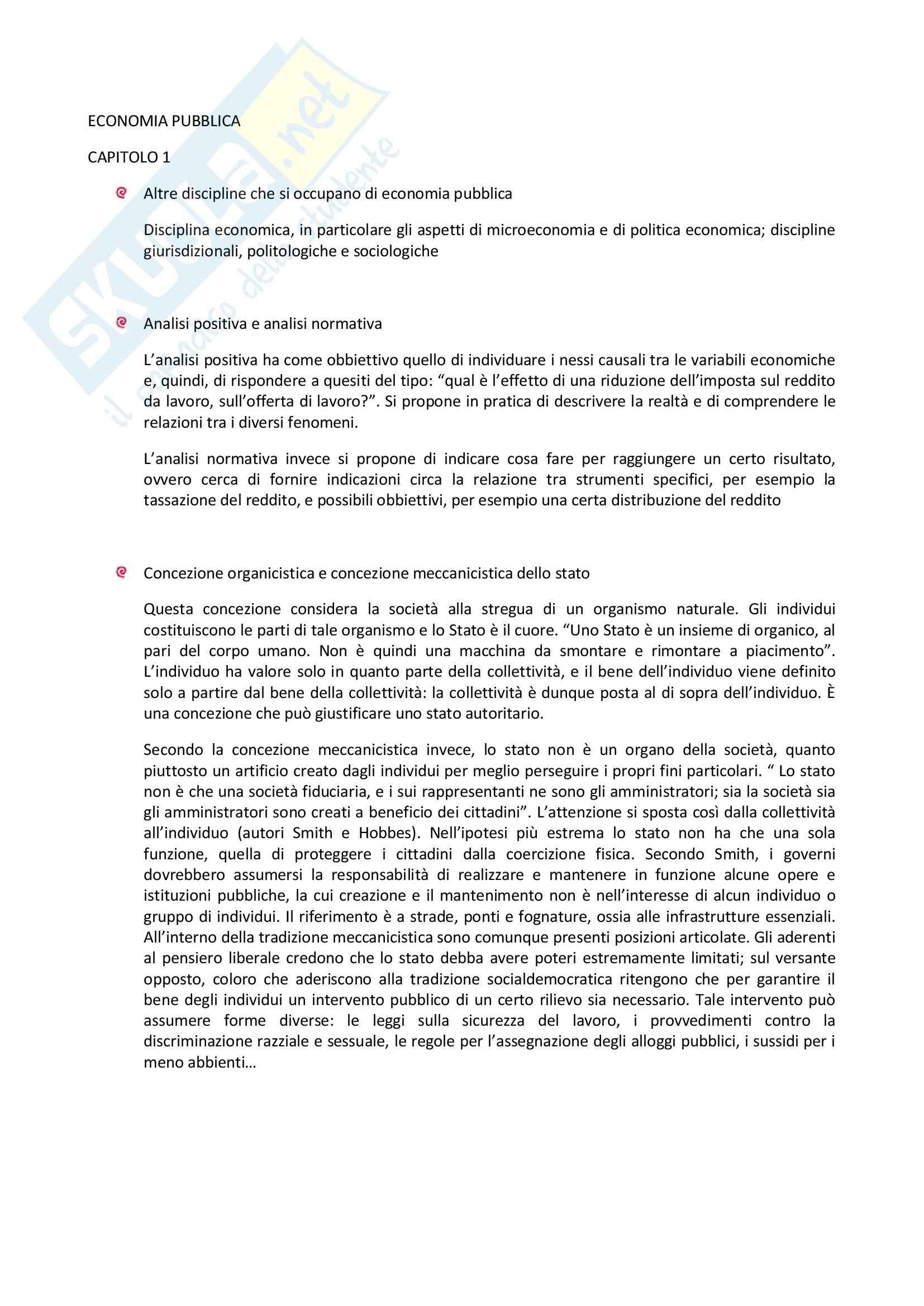 Riassunto esame degli Appunti di Economia pubblica, prof. Di Novi