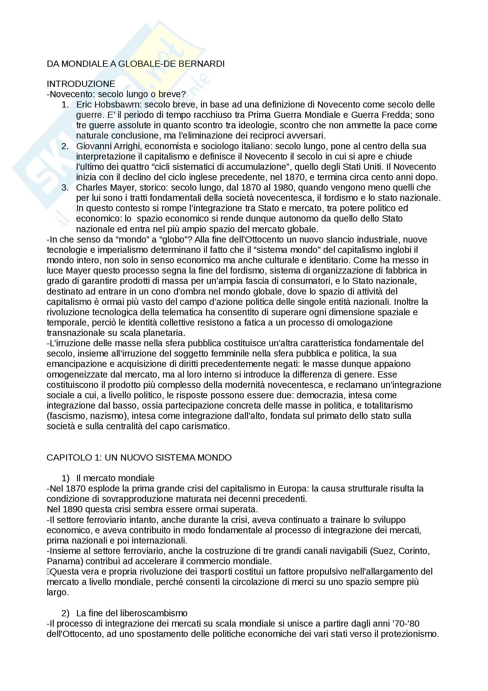 Riassunto esame storia contemporanea, prof. Calanca, libro consigliato Da mondiale a globale, Storia del xx secolo, Alberto De Bernardi