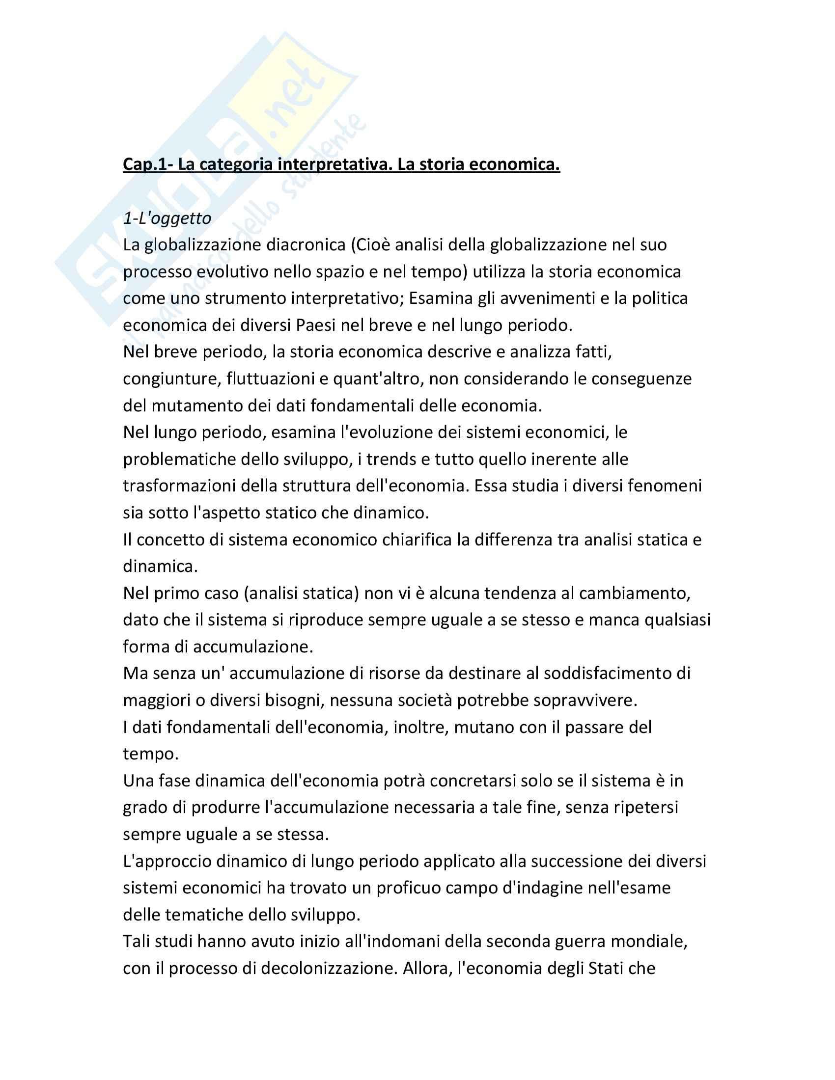 Riassunto esame Storia dell'economia, prof. Di Taranto, libro consigliato Globalizzazione diacronica, Di Taranto