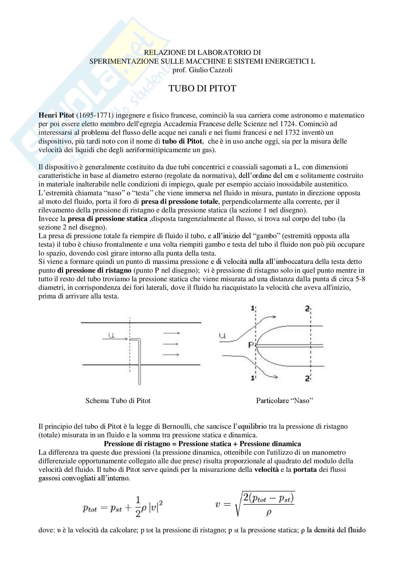 Appunti sul Tubo di Pitot, Laboratorio di Sperimentazione sulle Macchine e Sistemi Energetici