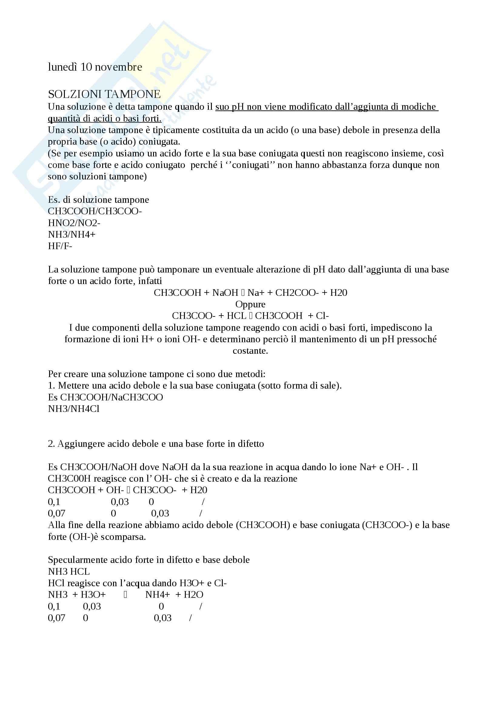 Soluzioni tampone, Chimica generale e inorganica