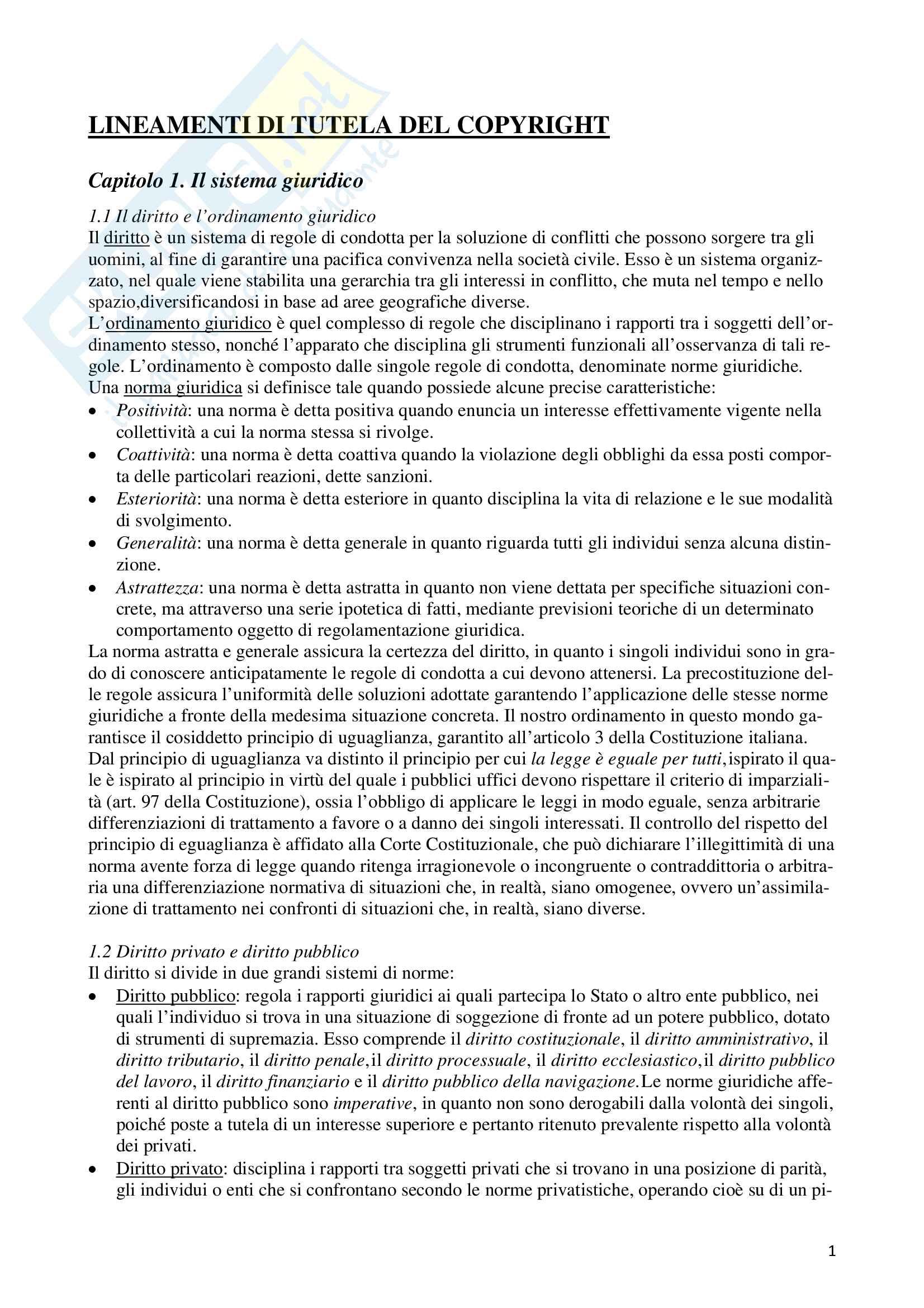 """Riassunto esame Fondamenti di diritto per il cinema, il teatro, lo spettacolo e il multimedia, prof. Porcari, libro consigliato """"Lineamenti di tutela del copyright"""" di Marco Porcari"""
