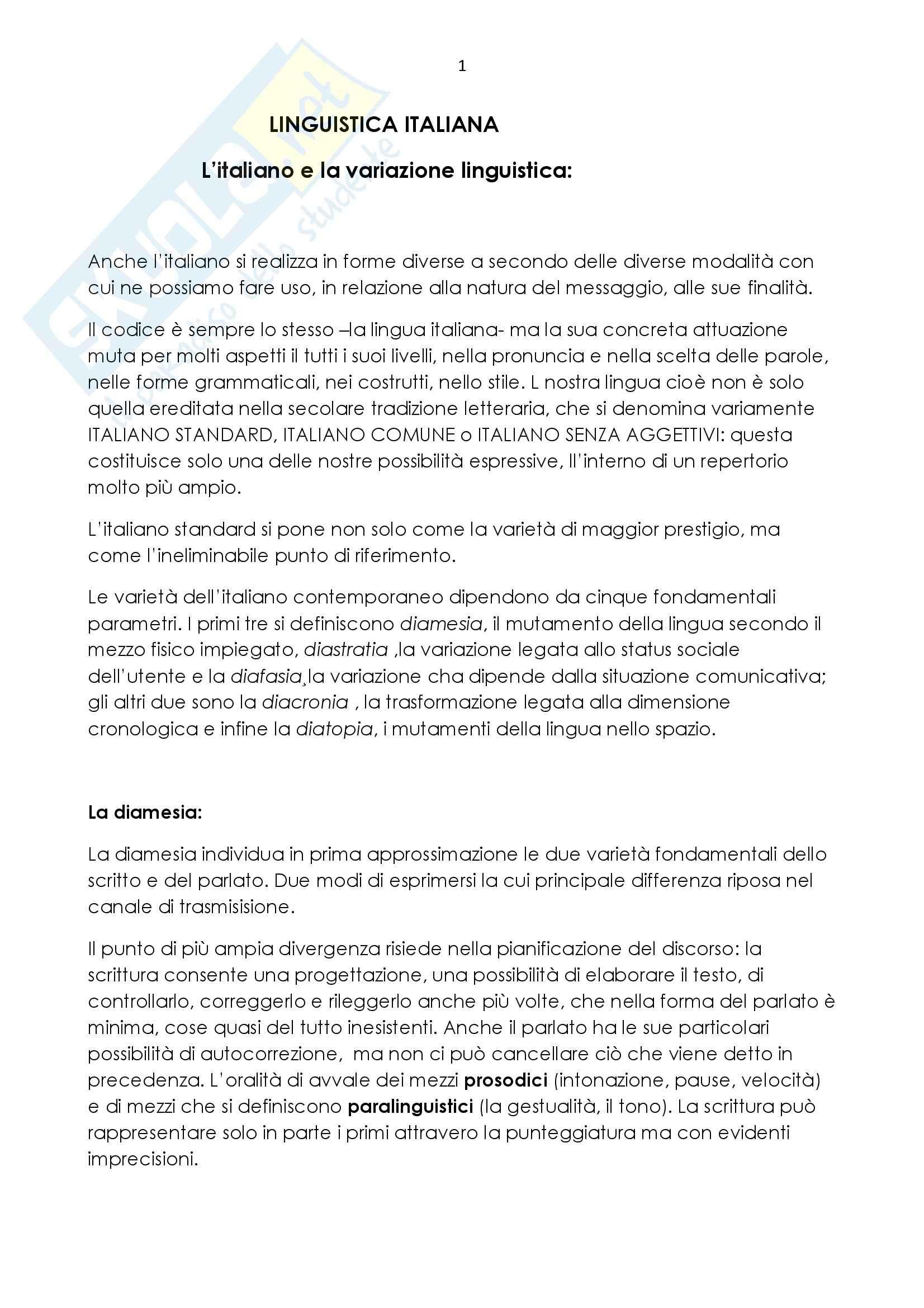 Riassunto esame Linguistica Italiana, prof. Martinelli, libro consigliato Elementi di Linguistica Italiana di Bonomi, Morgana, Masini e Piotti