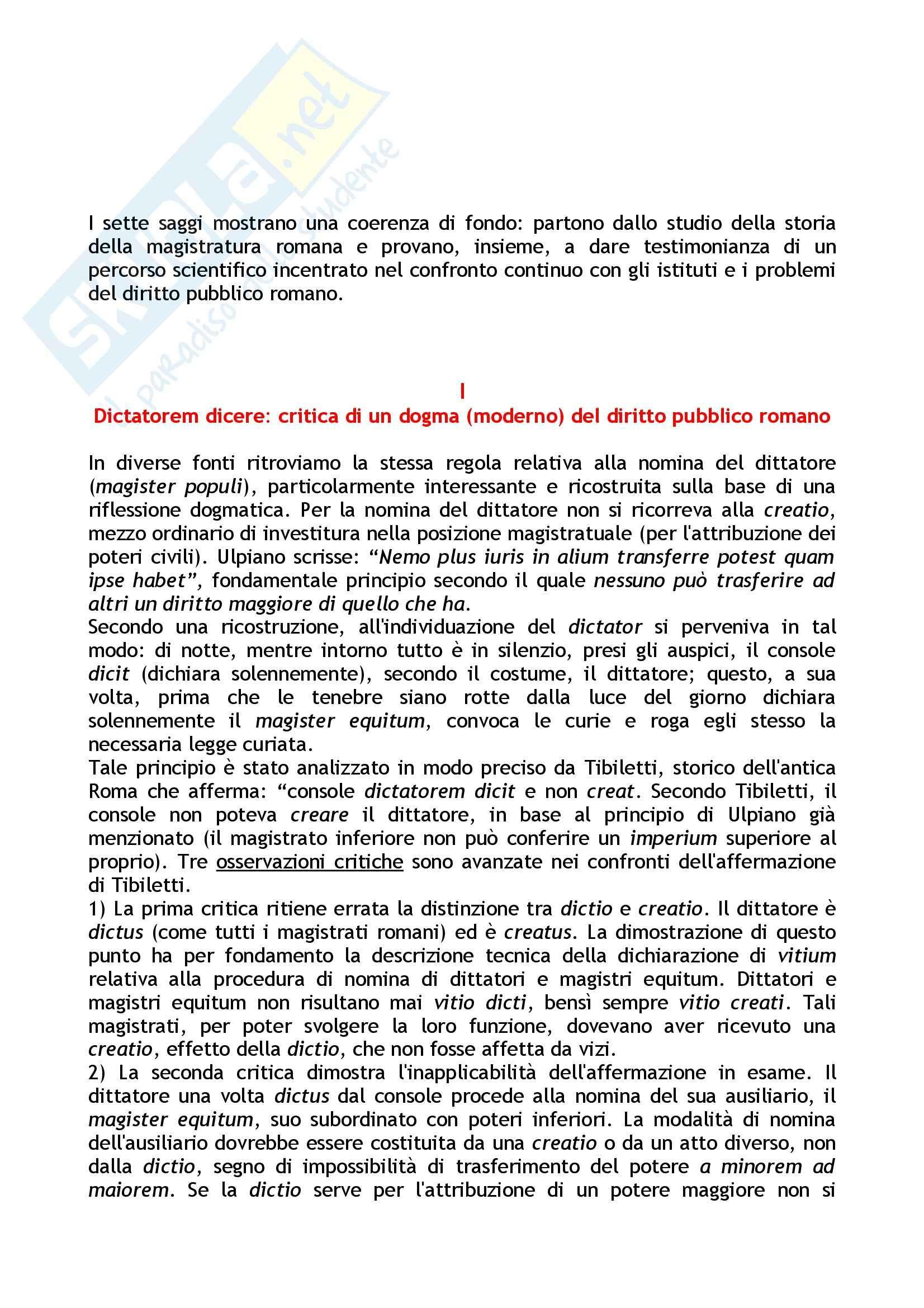 Riassunto esame Storia della costituzione romana, prof. Cascione, libro consigliato Studi di diritto pubblico romano, Cascione