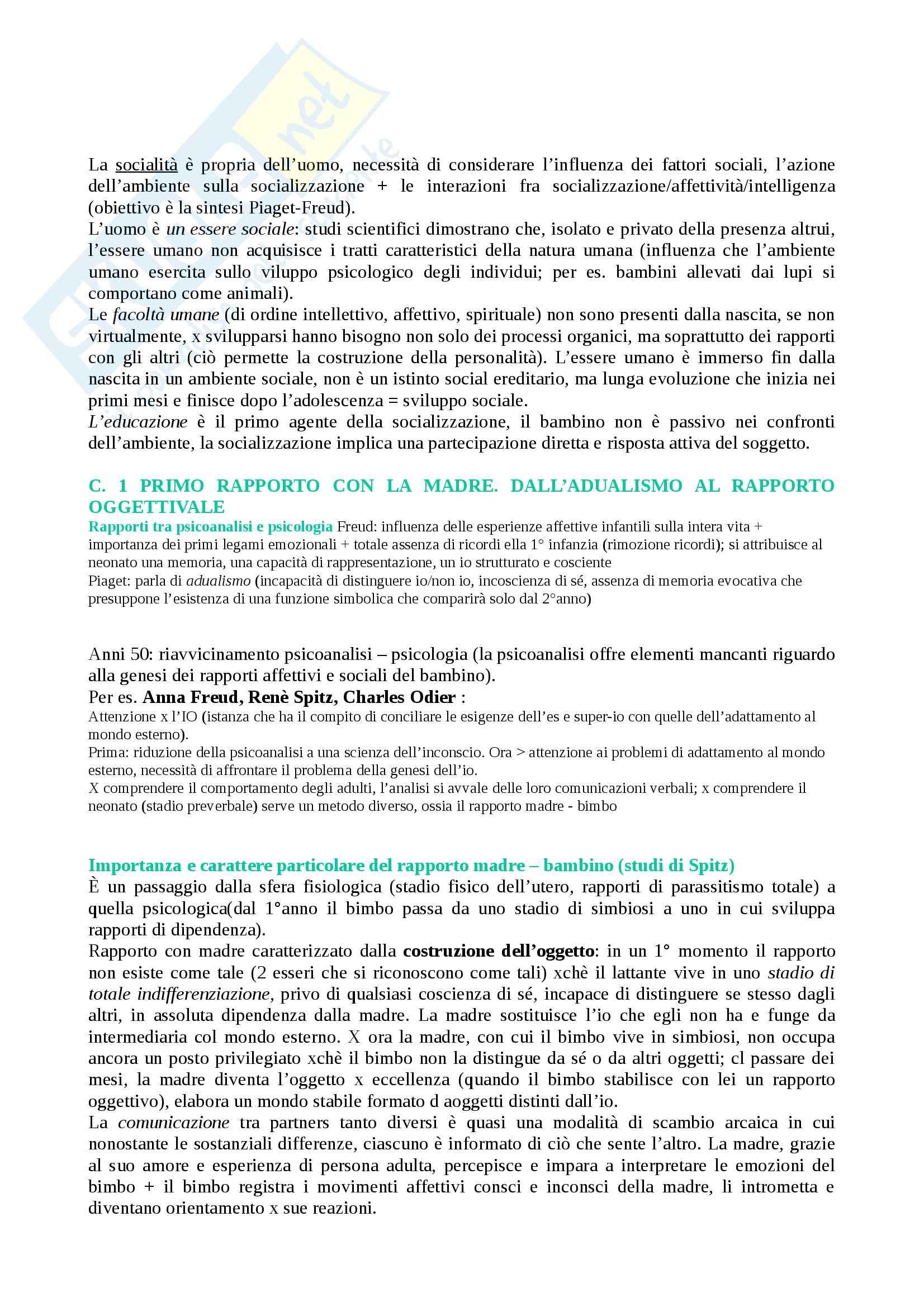 Riassunto esame Psichiatria, prof. Muttini, libro consigliato Lo sviluppo sociale del bambino e dell'adolescente, Reymond, Rivier