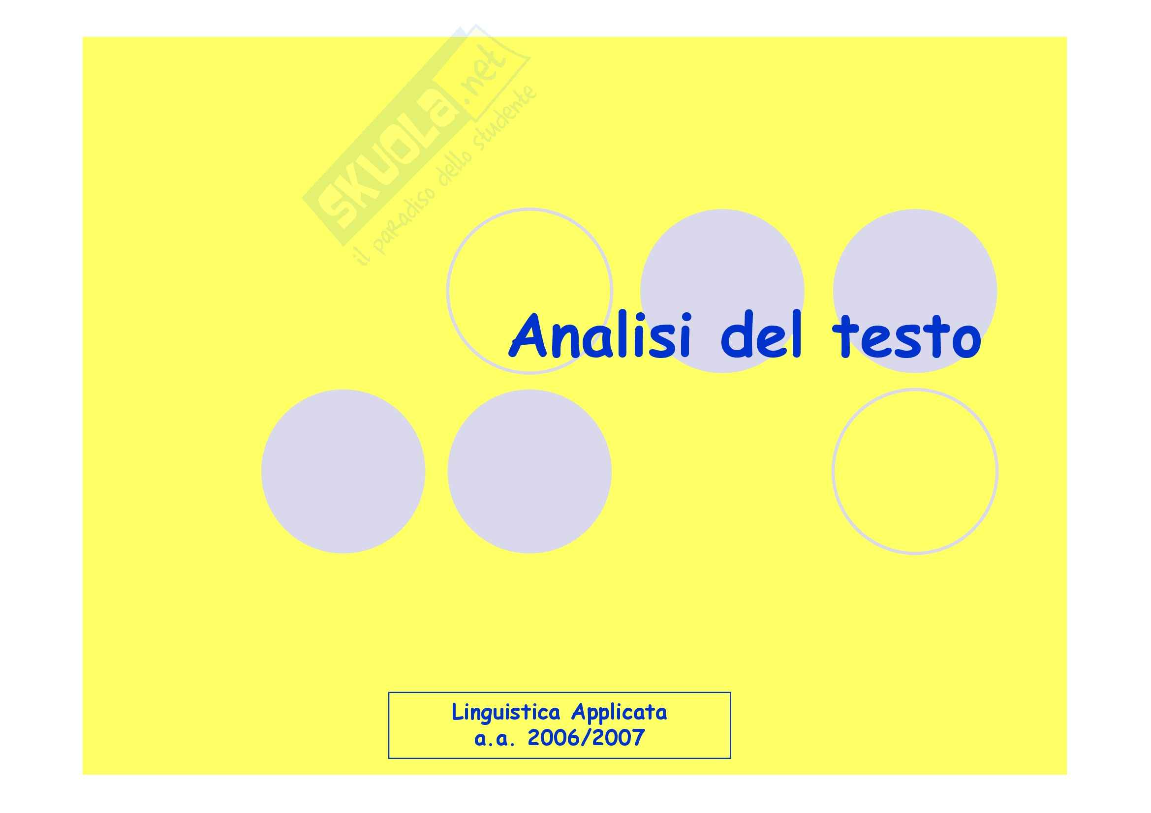 Linguistica applicata - l'analisi del testo
