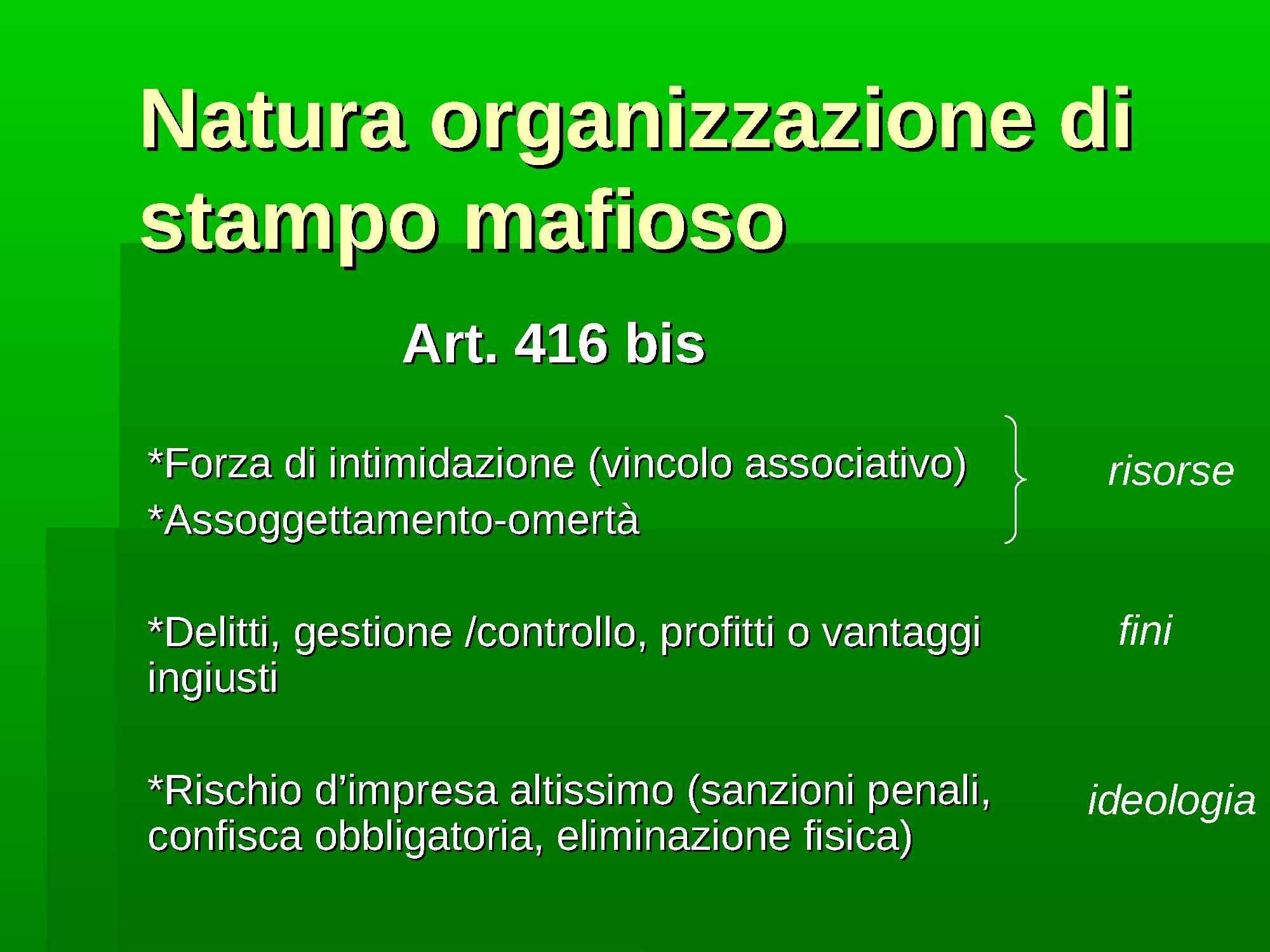 Caratteri dell'organizzazione mafiosa