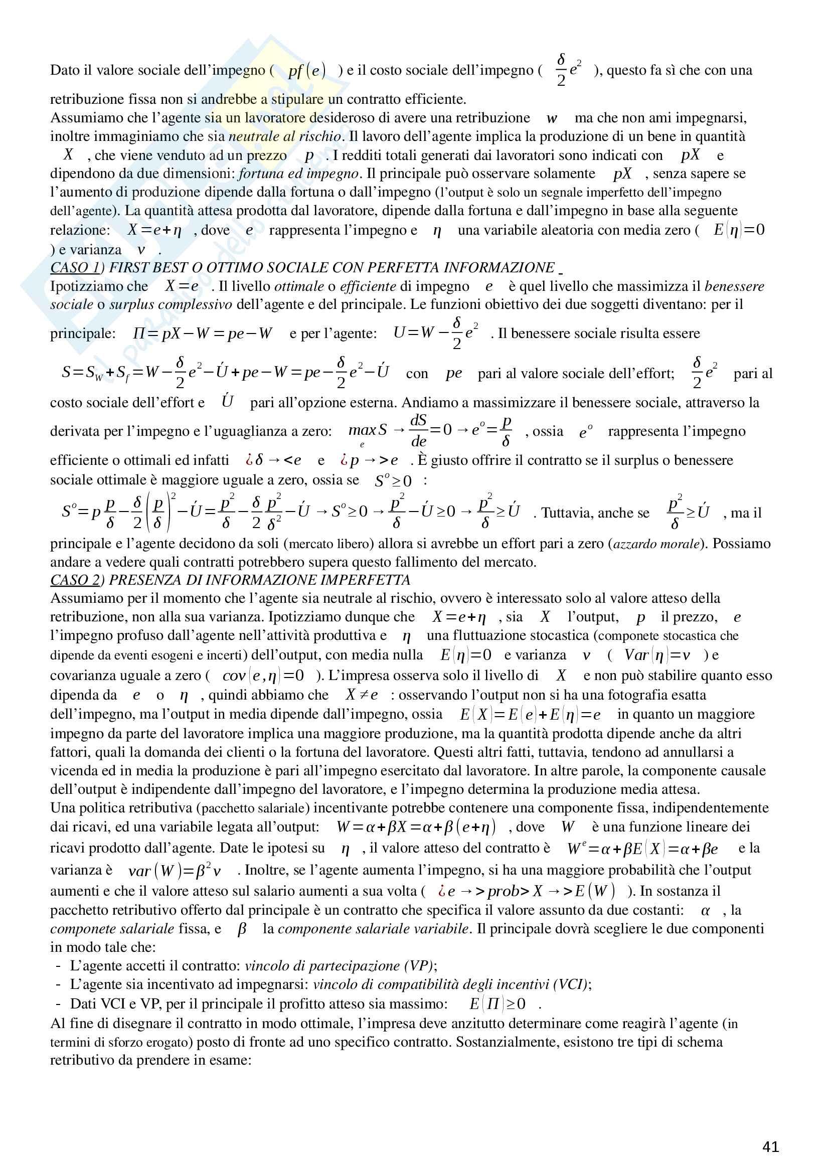 """Riassunto esame Economia e politiche delle risorse umane, prof. Cottini e Ghinetti, libro consigliato """"Economia delle risorse umane"""" di Garibaldi (2005) Pag. 41"""