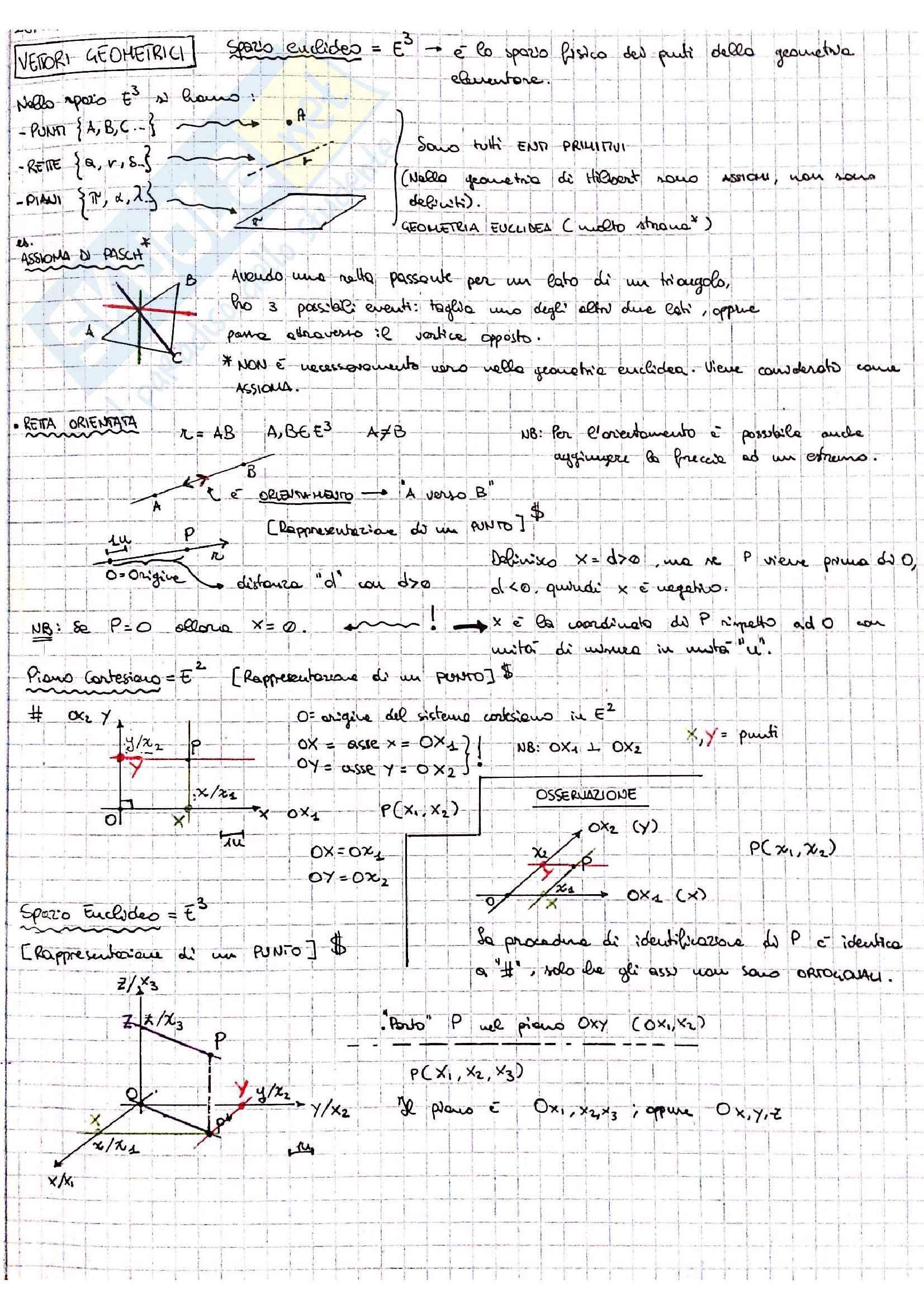 Vettori geometrici ed operazioni