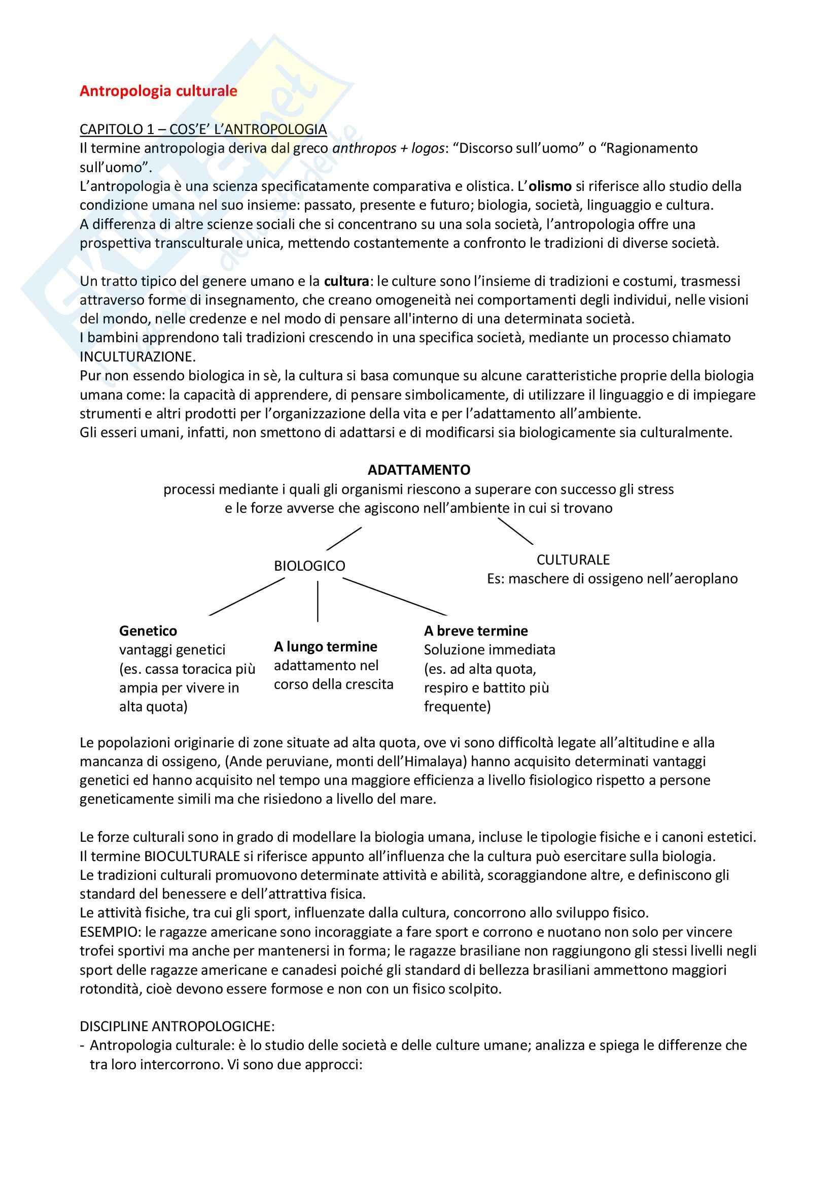 Riassunto esame Antropologia, prof. Porporato, libro consigliato Antropologia culturale, Kottak
