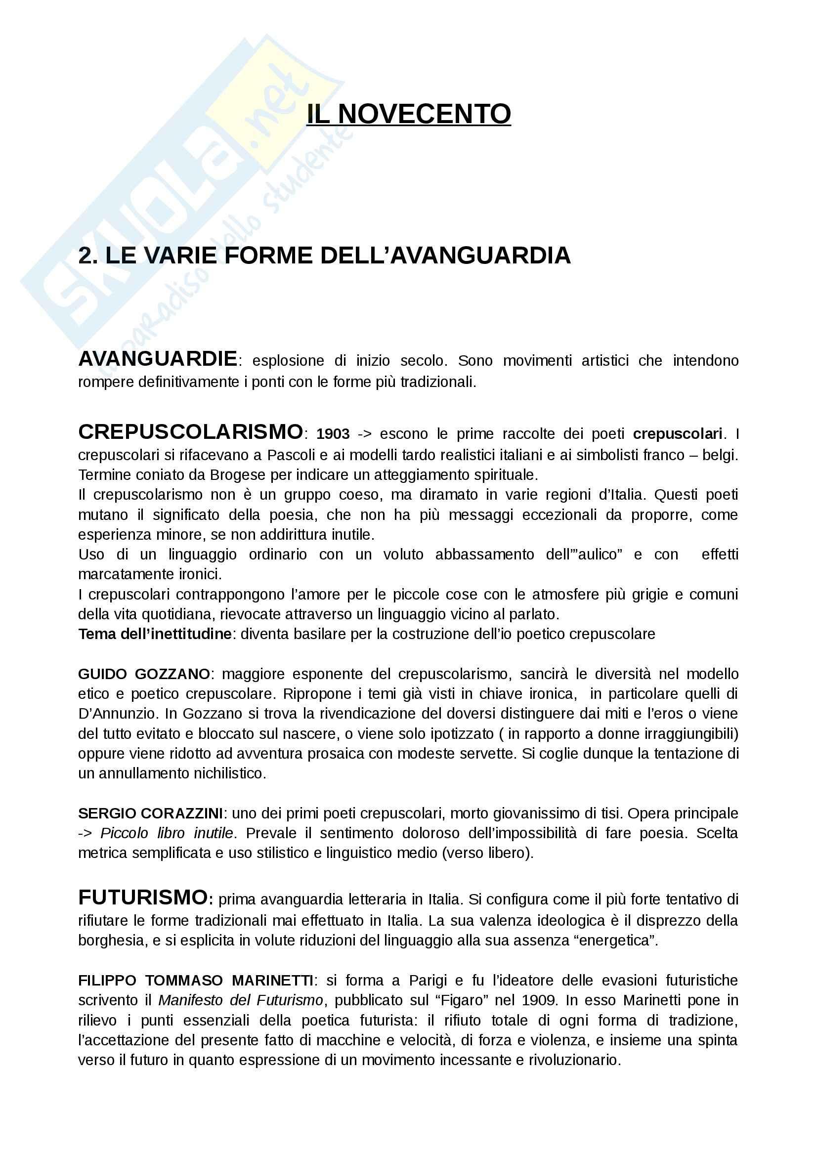 appunto D. Tomasello Letteratura italiana contemporanea