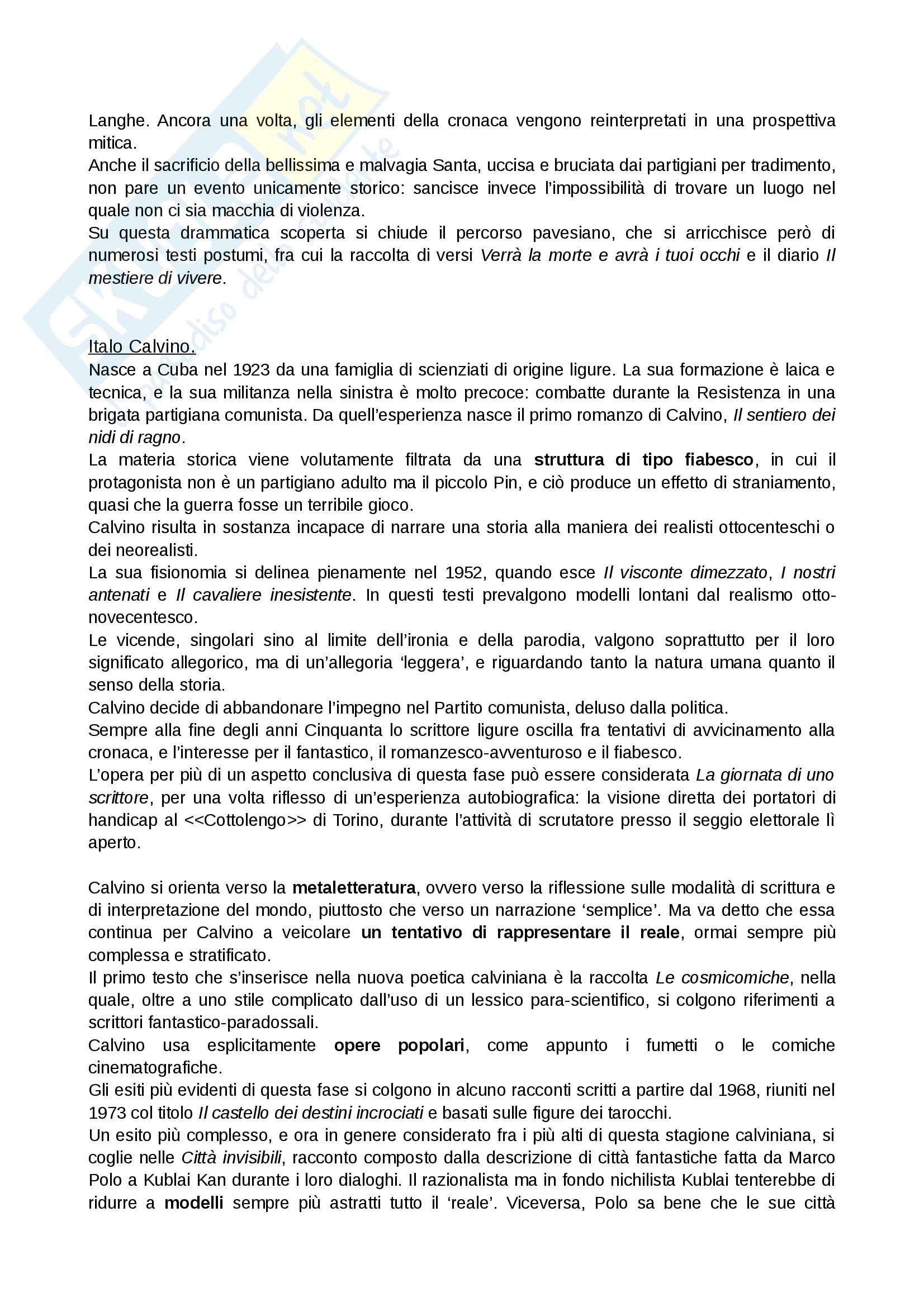Novecento, Letteratura italiana contemporanea Pag. 21