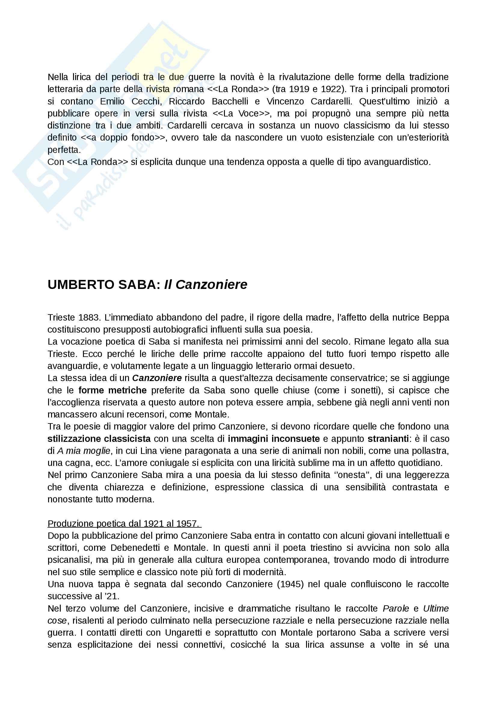 Novecento, Letteratura italiana contemporanea Pag. 6