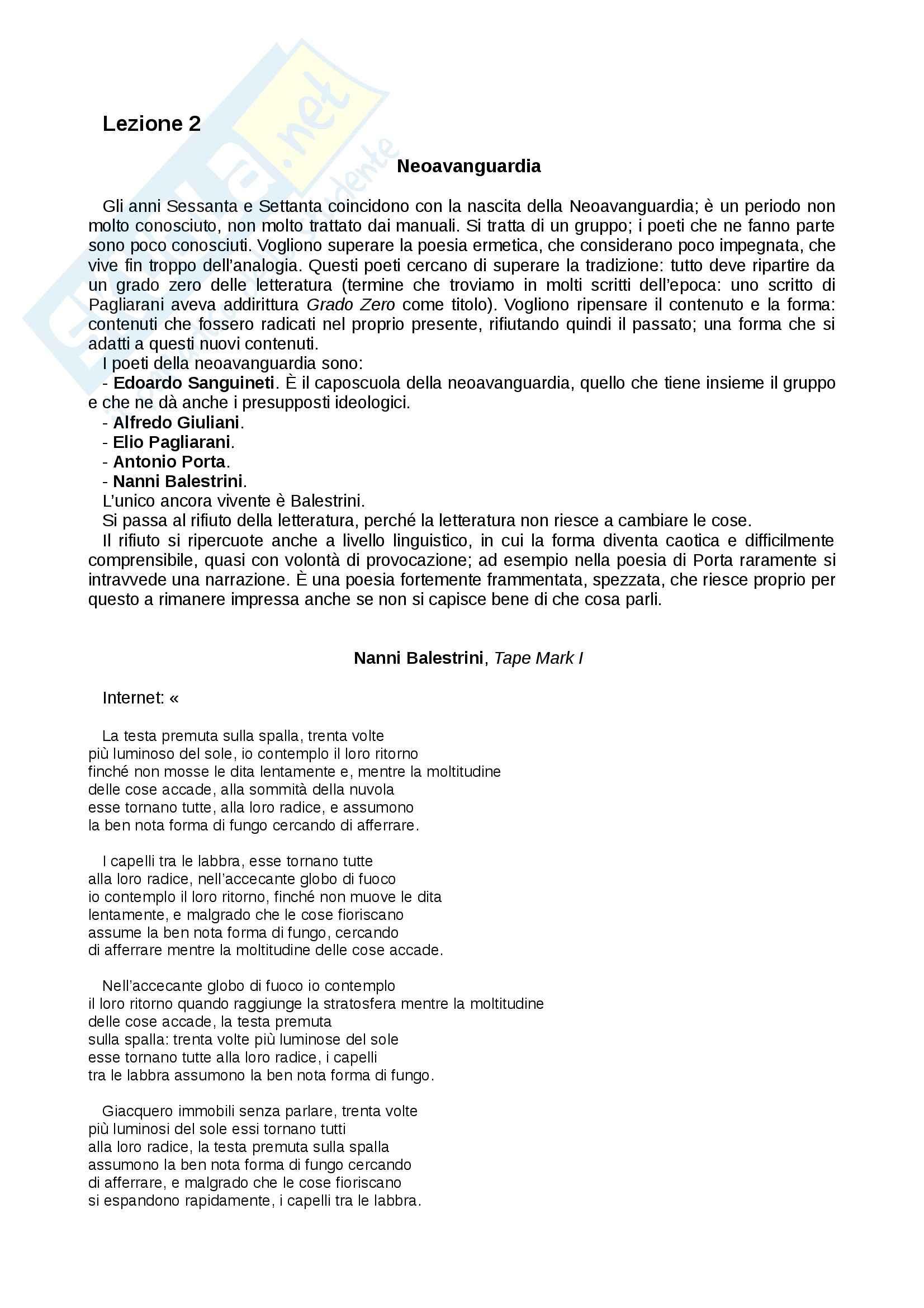 Letteratura italiana moderna e contemporanea - Appunti