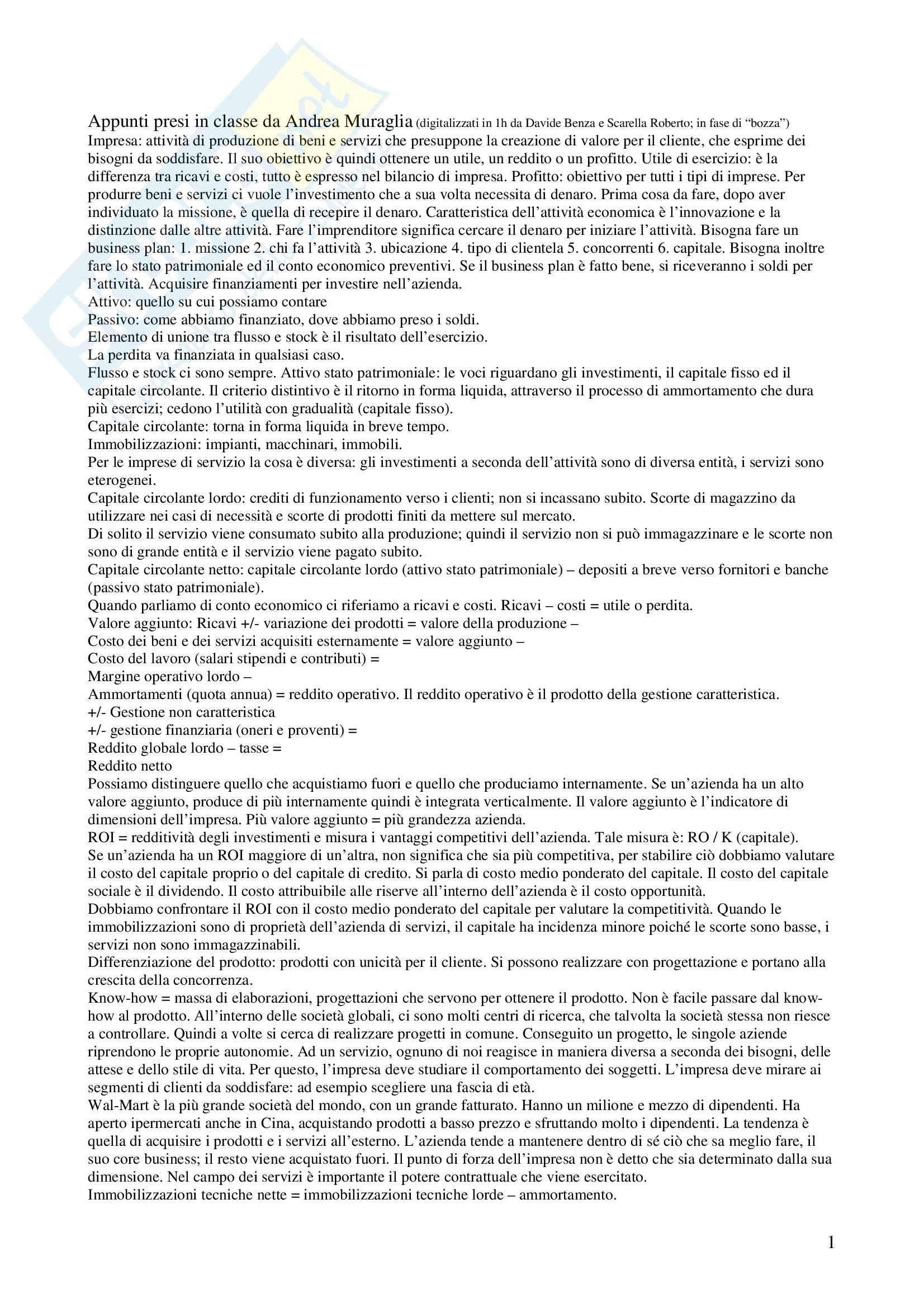 Economia e gestione delle imprese di servizio - Appunti