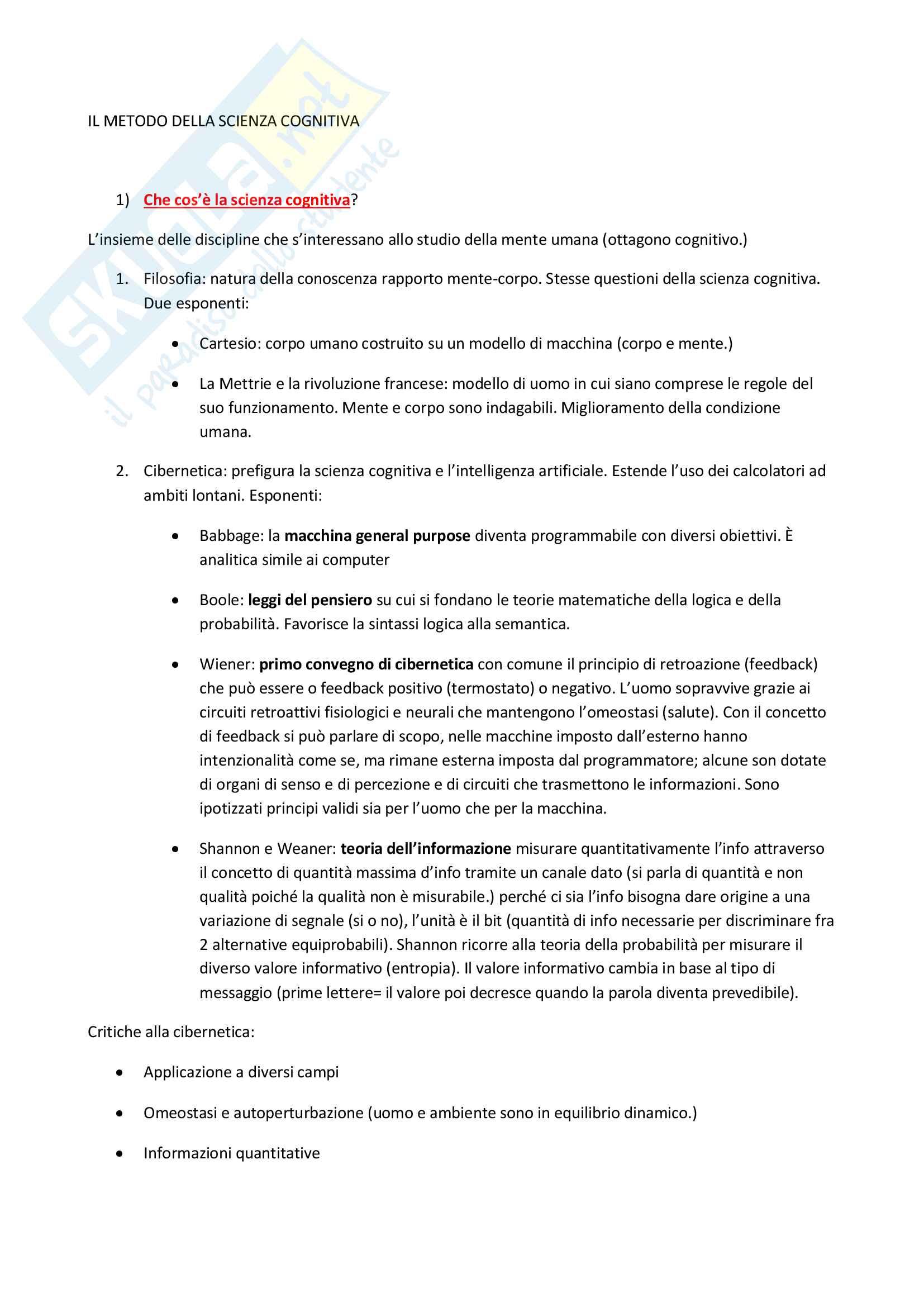 Riassunto esame Psicologia generale, prof. Adenzato, libro consigliato Il metodo della scienza cognitiva, Bara