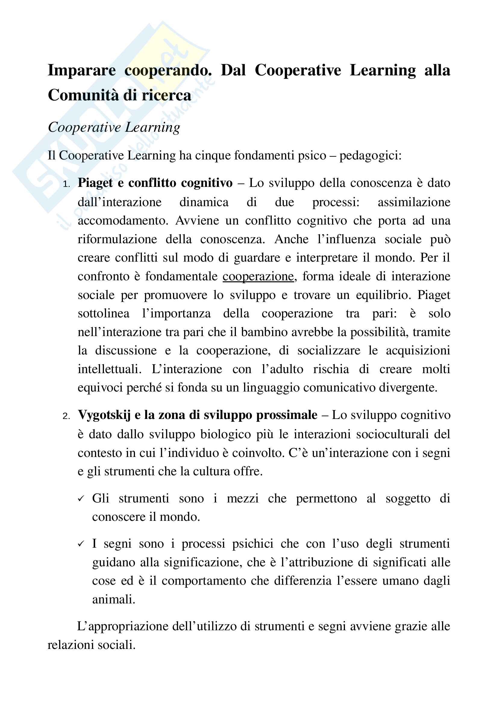 """Riassunto Esame Pedagogia del ciclo di vita, Docente Ariemma L., Libro consigliato """"Imparare cooperando. Dal Cooperative Learning alla Comunità di ricerca."""", Autore Ciacciamani S."""