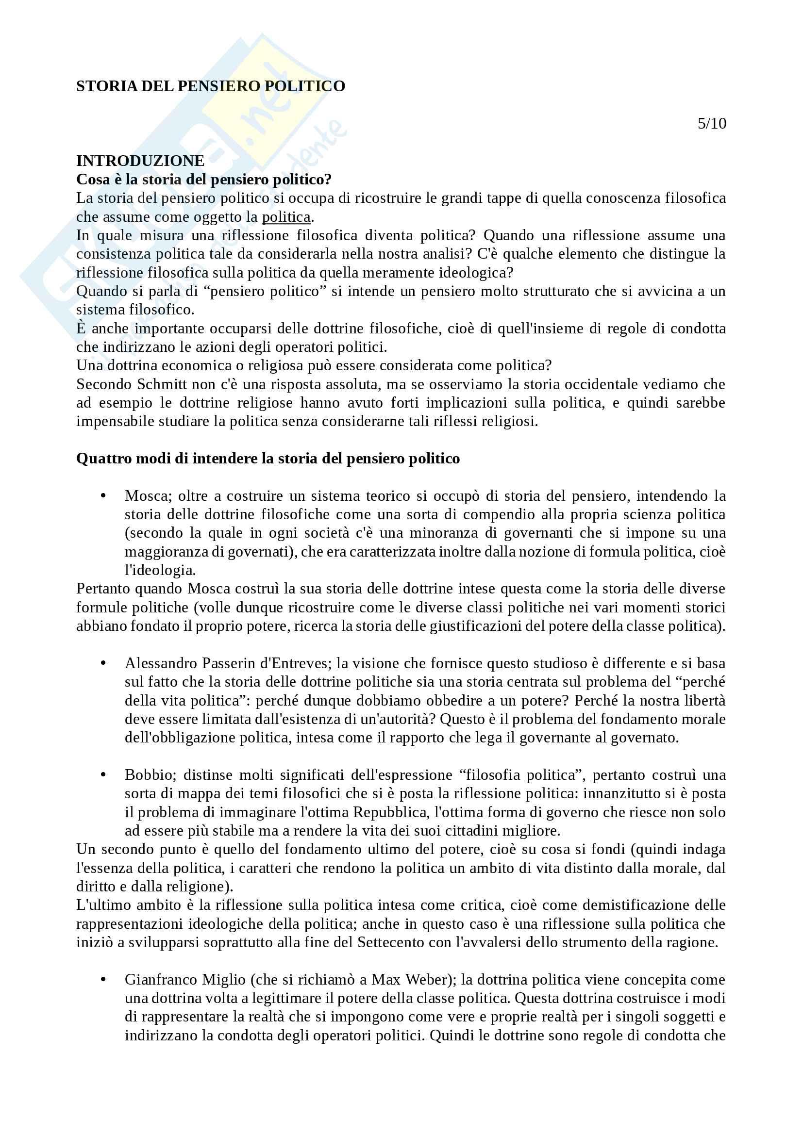 Storia del pensiero politico -  prof. Cotellessa