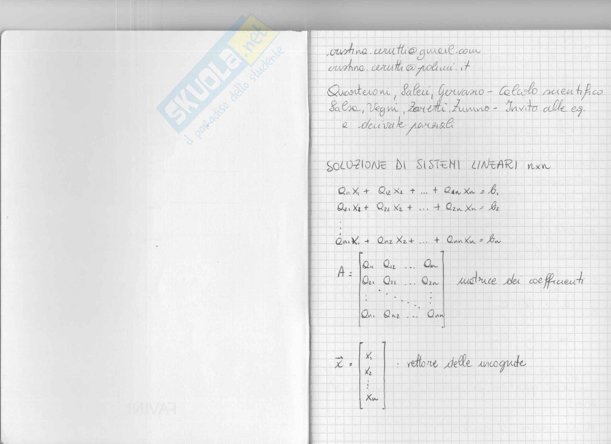 Metodi analitici e numerici per l'ingegneria - Lezioni