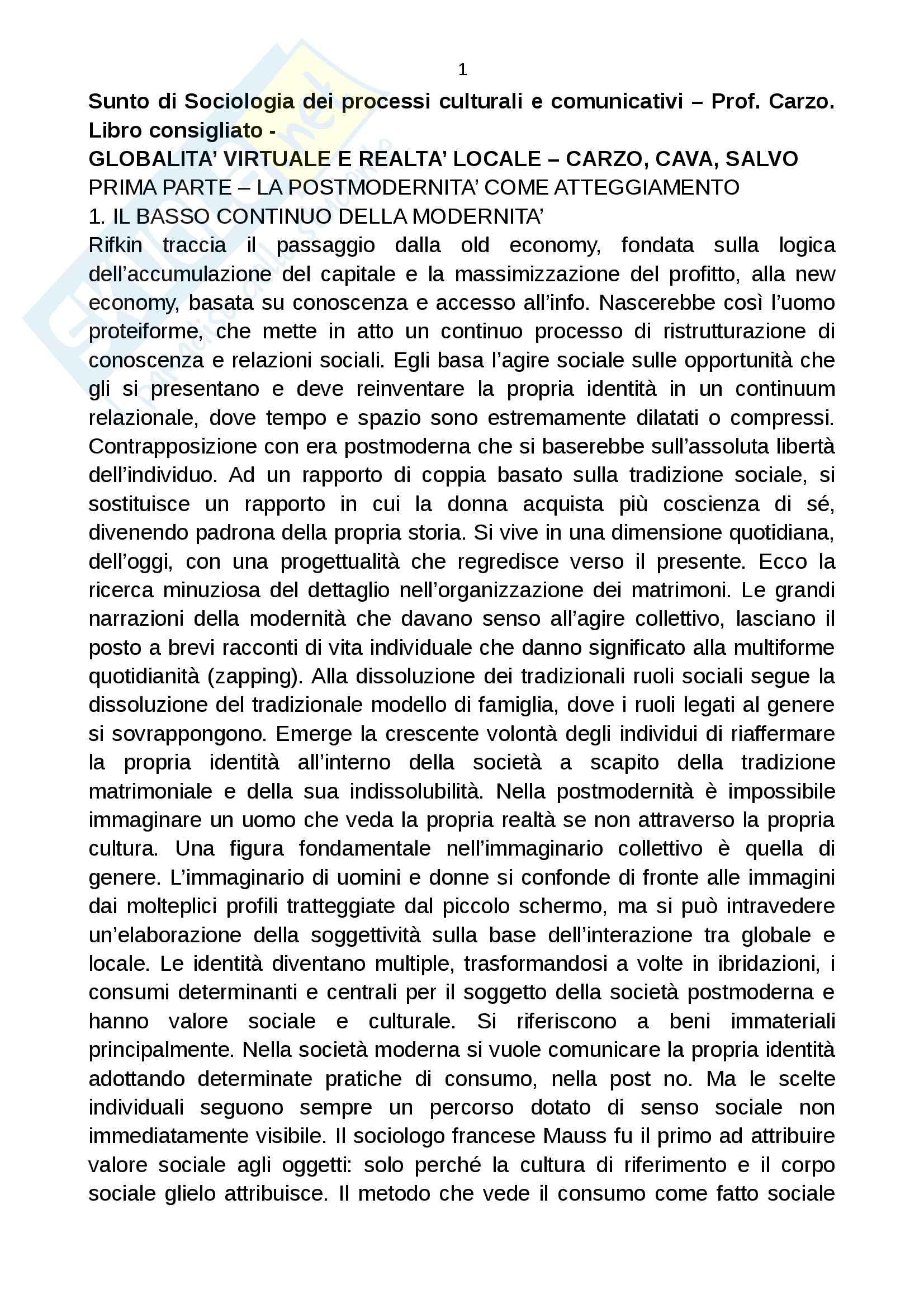 appunto D. Carzo Sociologia dei processi culturali e comunicativi