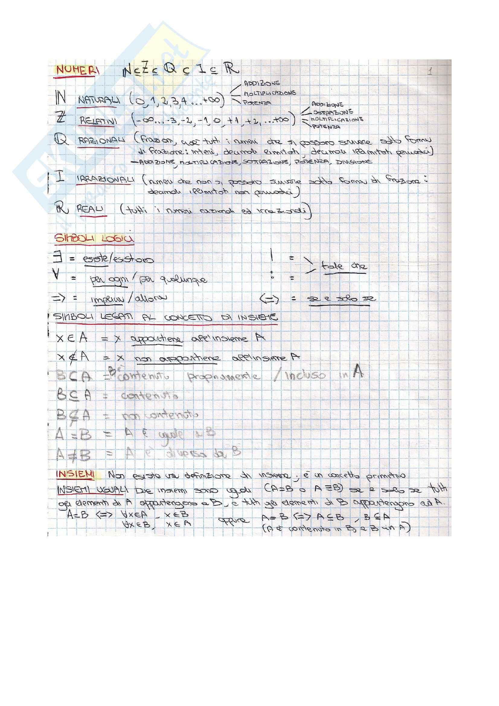 Insiemi - Analisi 1 Pag. 2