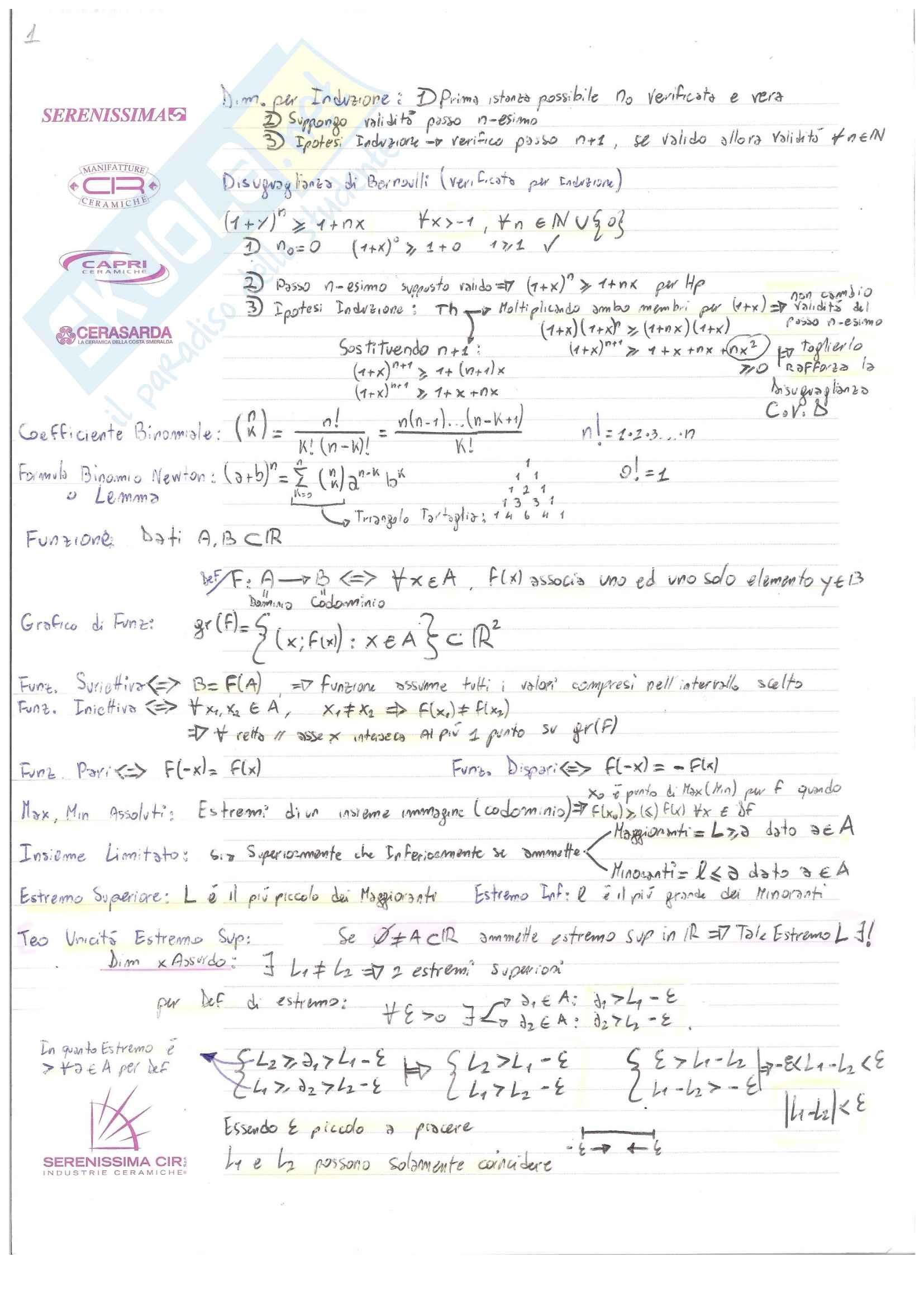 Analisi I Teoria: Definizioni e Teoremi
