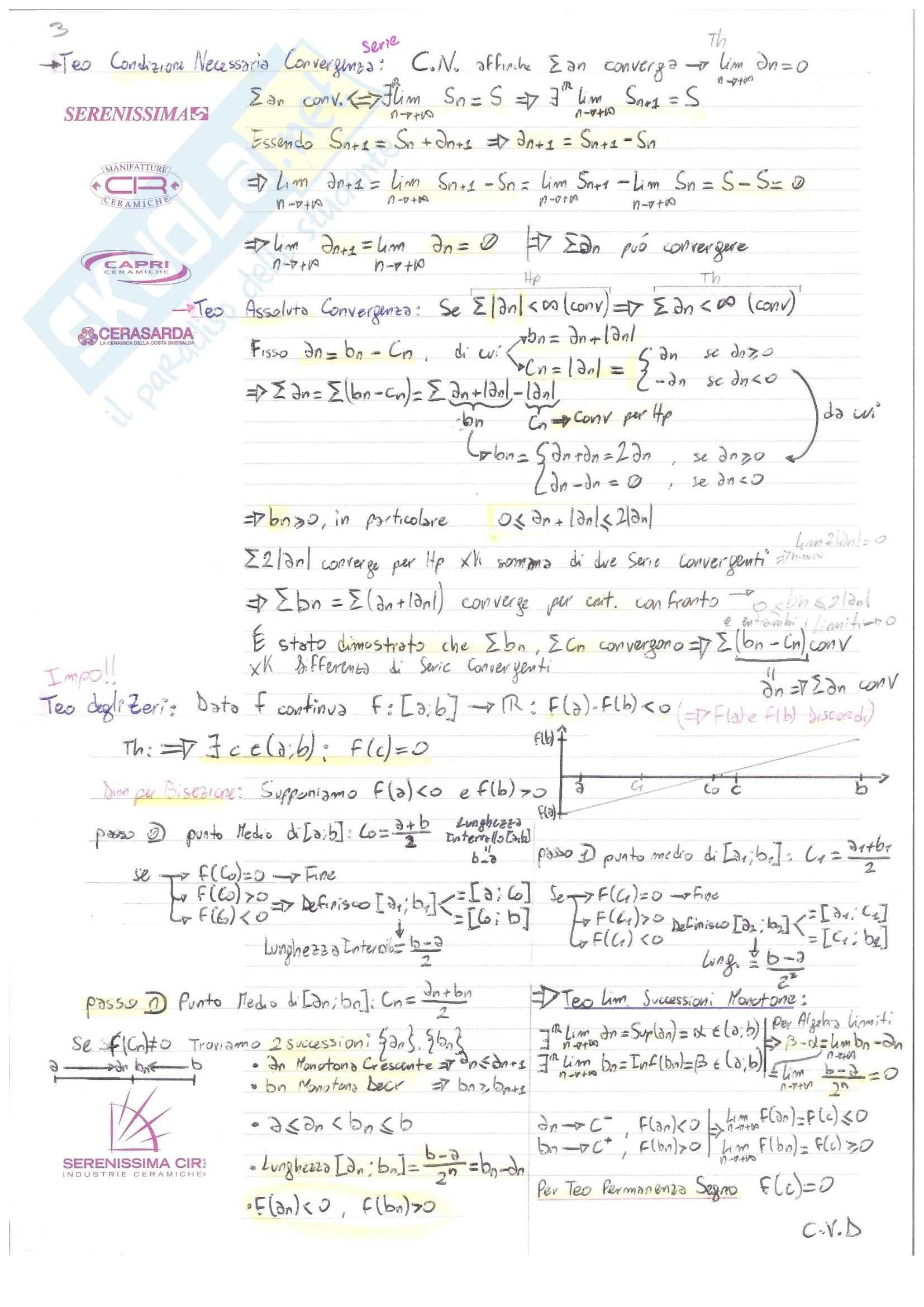 Analisi I Teoria: Definizioni e Teoremi Pag. 6