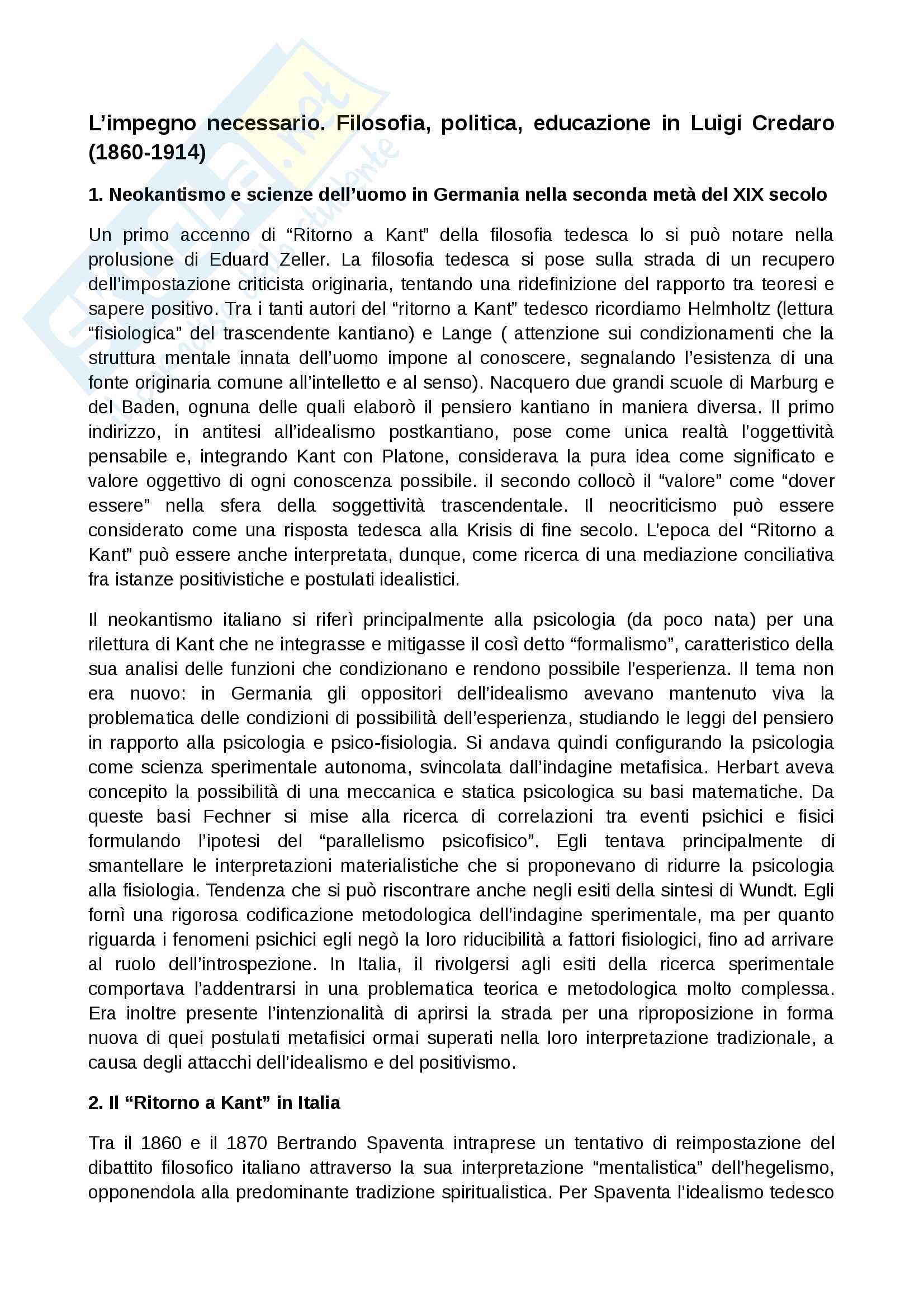 Riassunto esame Pedagogia generale, prof. D'Arcangeli. Libro consigliato L'impegno necessario. Filosofia, politica, educazione in Luigi Credaro, autore M.A. D'Arcangeli